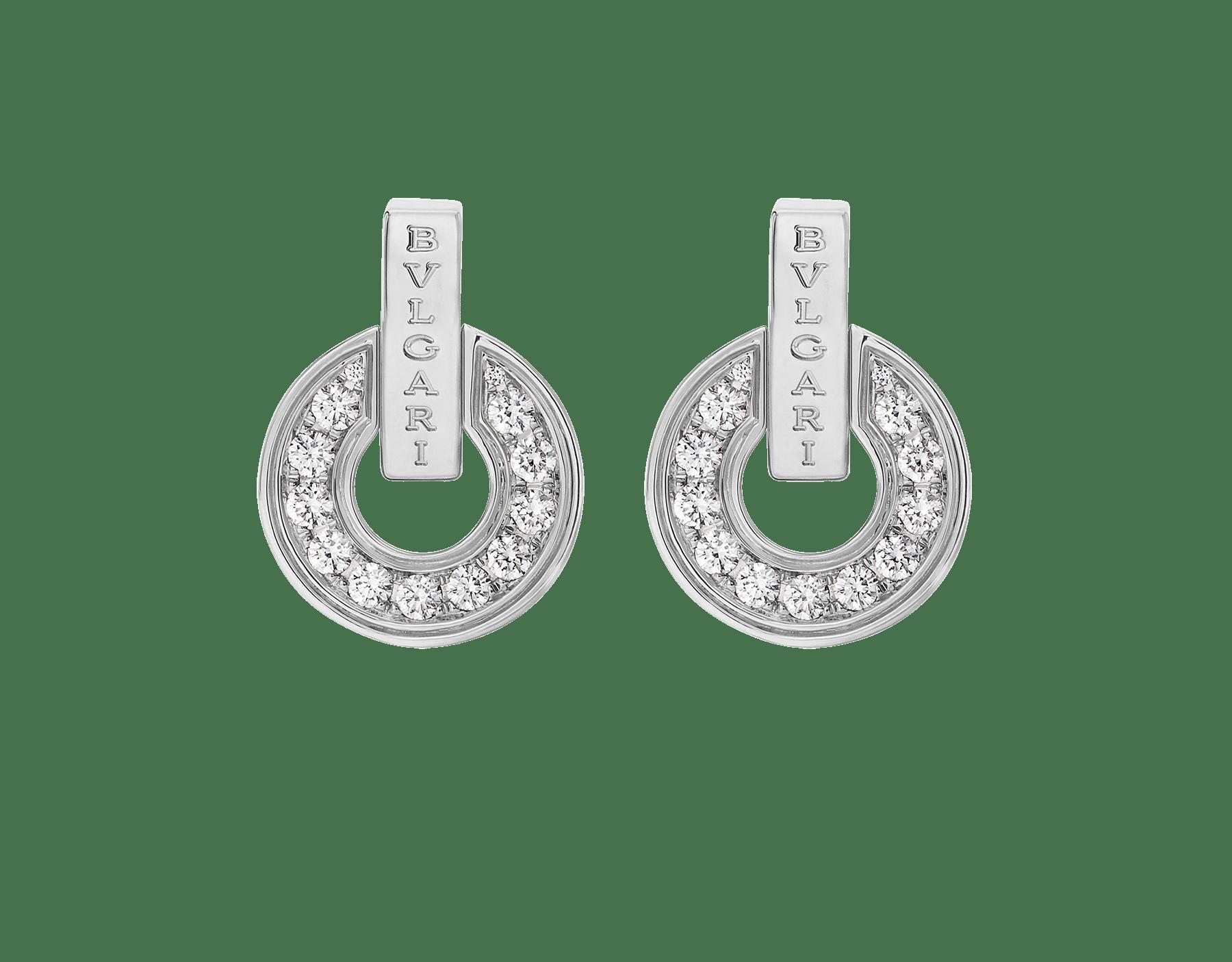BVLGARI BVLGARI系列白色18K金镂空耳环,饰以全密镶钻石 357940 image 1