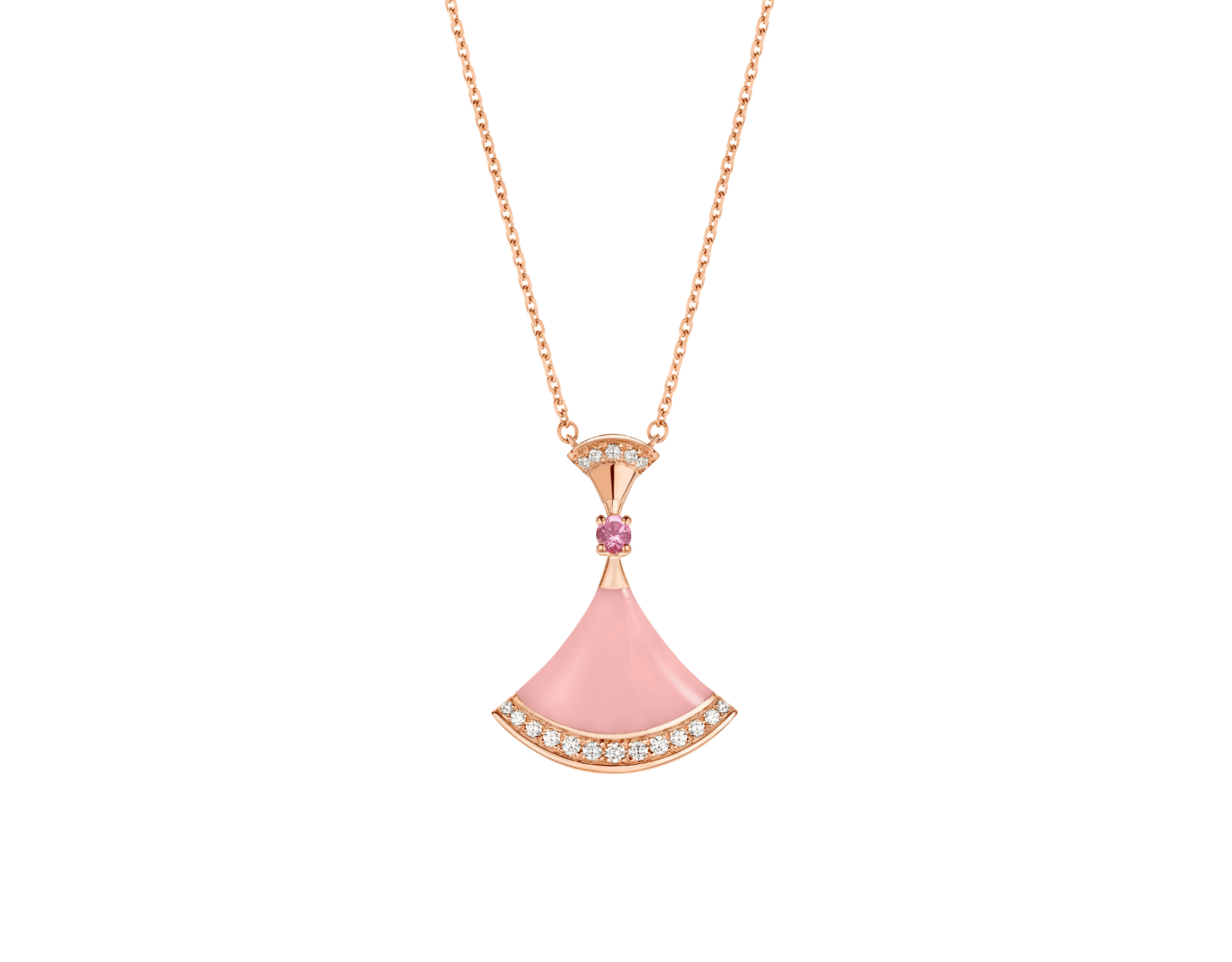 DIVAS' DREAM 18 kt rose gold pendant necklace set with a pink opal insert, a pink sapphire and pavé diamonds. Chinese Valentine's Day Special Edition 358131 image 1
