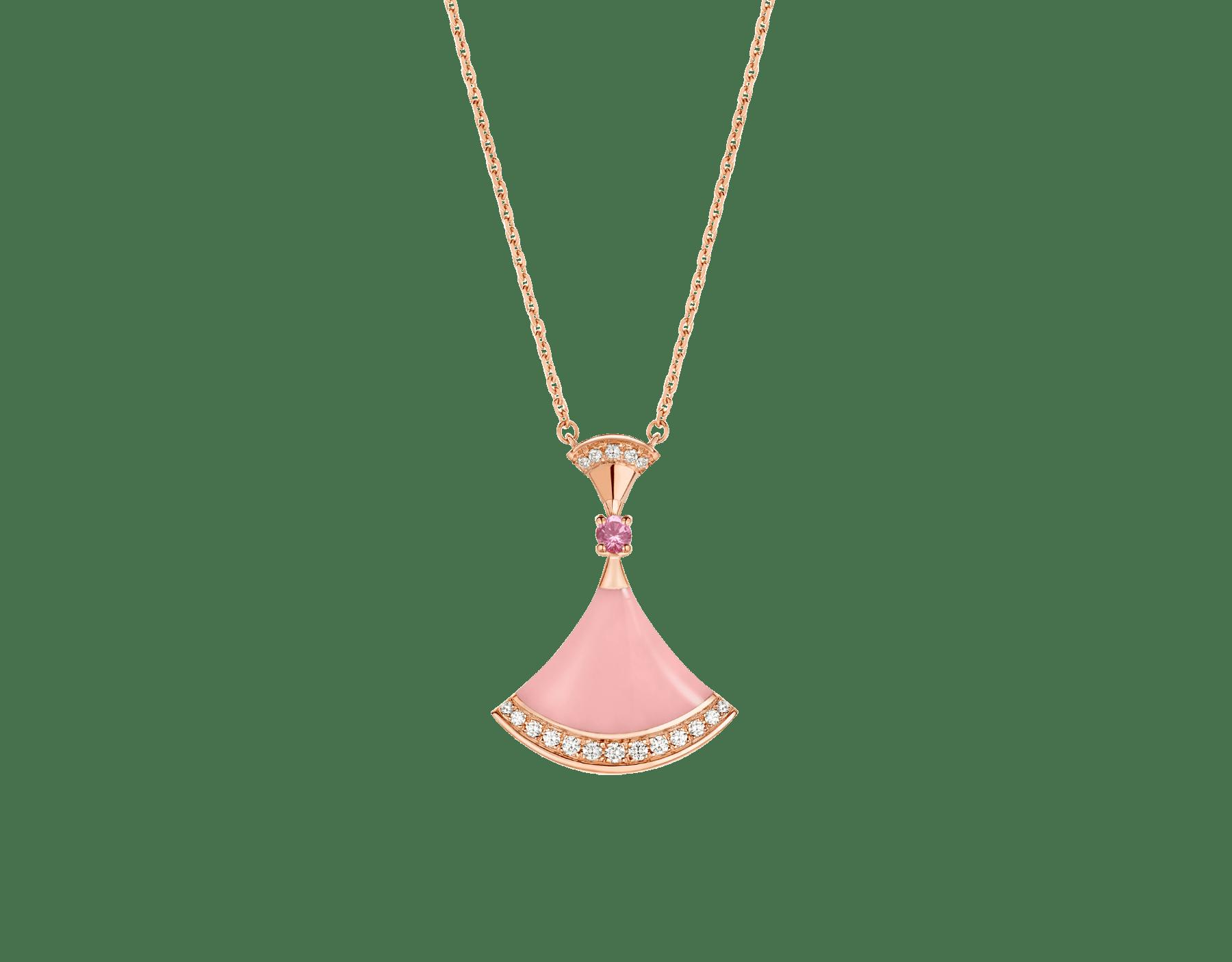 DIVAS' DREAM 18K 玫瑰金項鍊,項墜鑲飾粉紅色蛋白石和 1 顆粉紅色藍寶石,並綴以密鑲鑽石。七夕情人節特別版項鍊。 358131 image 1