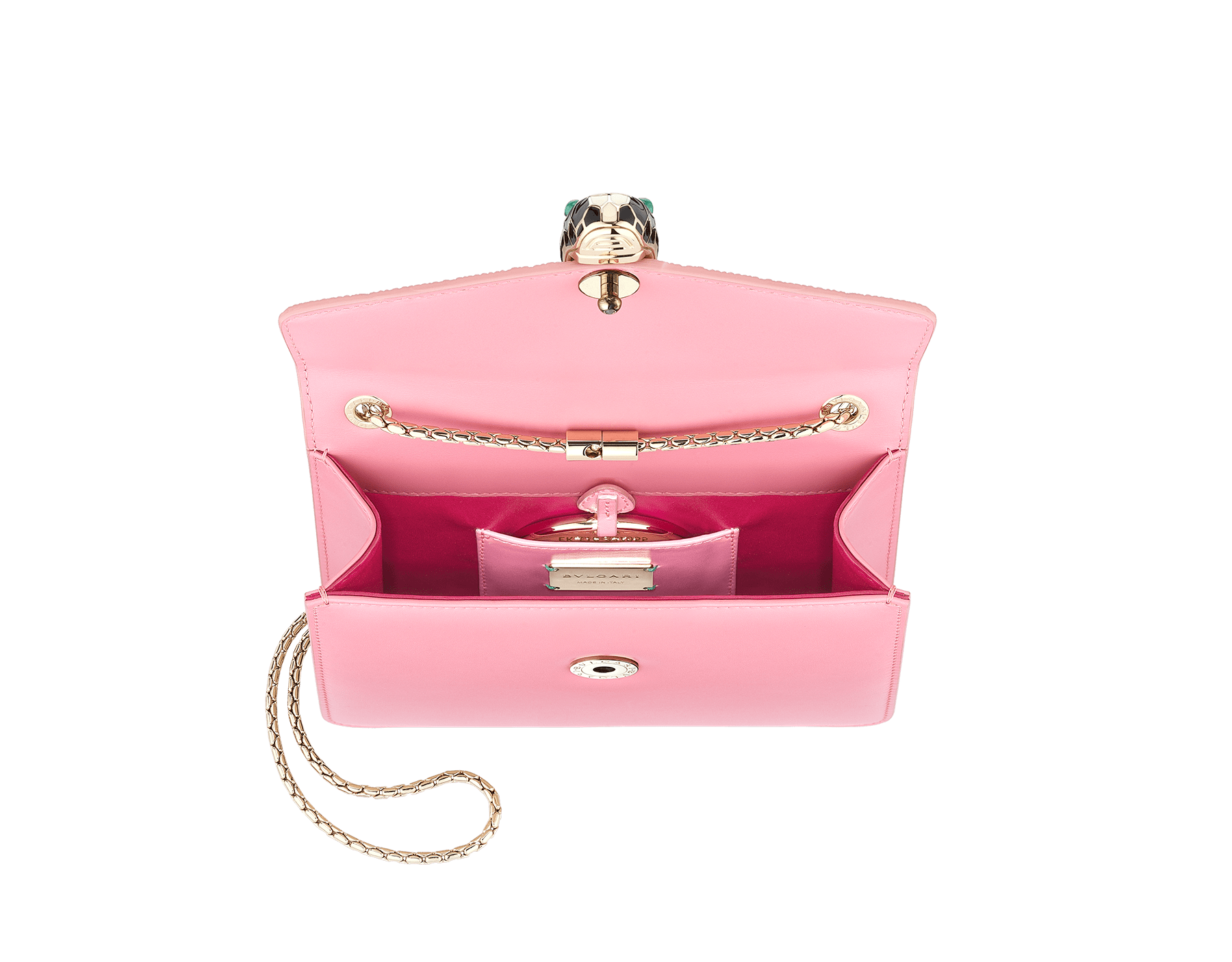 """""""Serpenti Forever"""" crossbody bag in candy quartz galuchat skin and calf leather. Iconic snakehead closure in light gold plated brass enriched with black and white enamel and green malachite eyes 287055 image 2"""