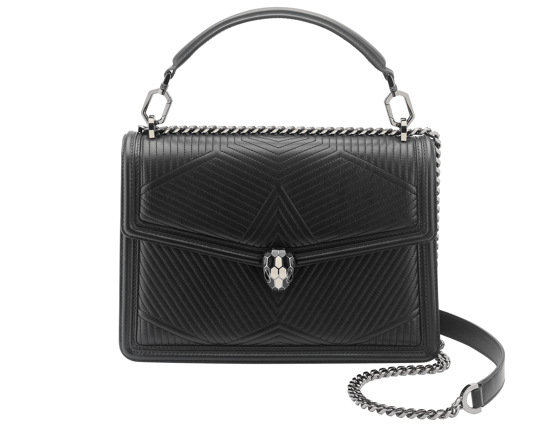 """Serpenti Diamond Blast"" shoulder bag in black quilted nappa leather body and black calf leather frames. Iconic snakehead closure in dark ruthenium plated brass enriched with black and white enamel and black onyx eyes. 287360 image 1"