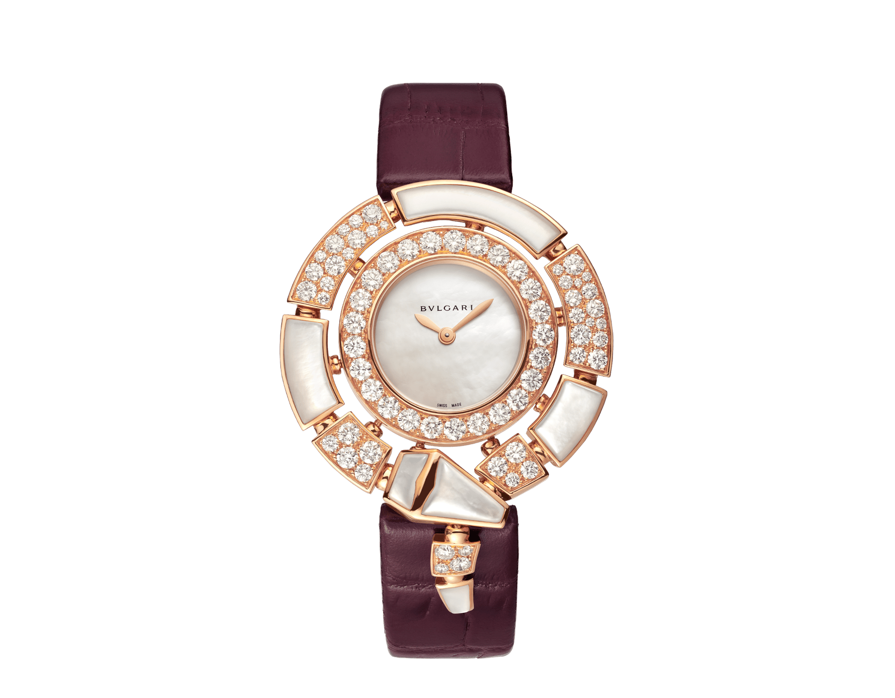 Serpenti Incantati watch with 18 kt rose gold case set with brilliant-cut diamonds and mother-of-pearl elements, mother-of-pearl dial and purple alligator bracelet 102872 image 1