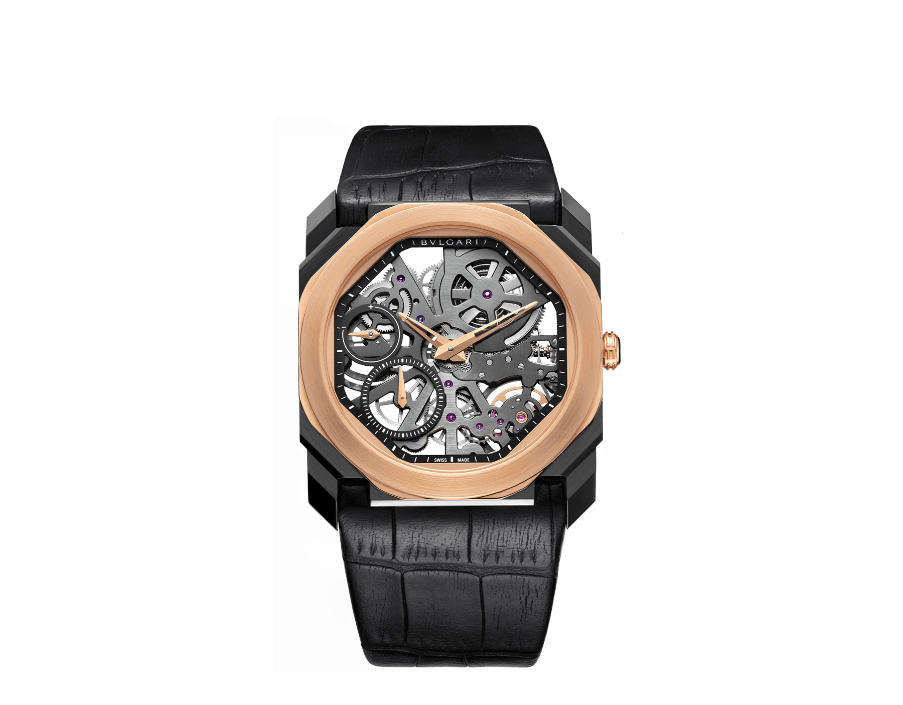 Octo Finissimo watch with extra thin mechanical skeletonized manufacture movement, manual winding, small seconds and power reserve indication, stainless steel case treated with black Diamond Like Carbon, 18 kt rose gold bezel, transparent dial and black alligator bracelet. 102469 image 1