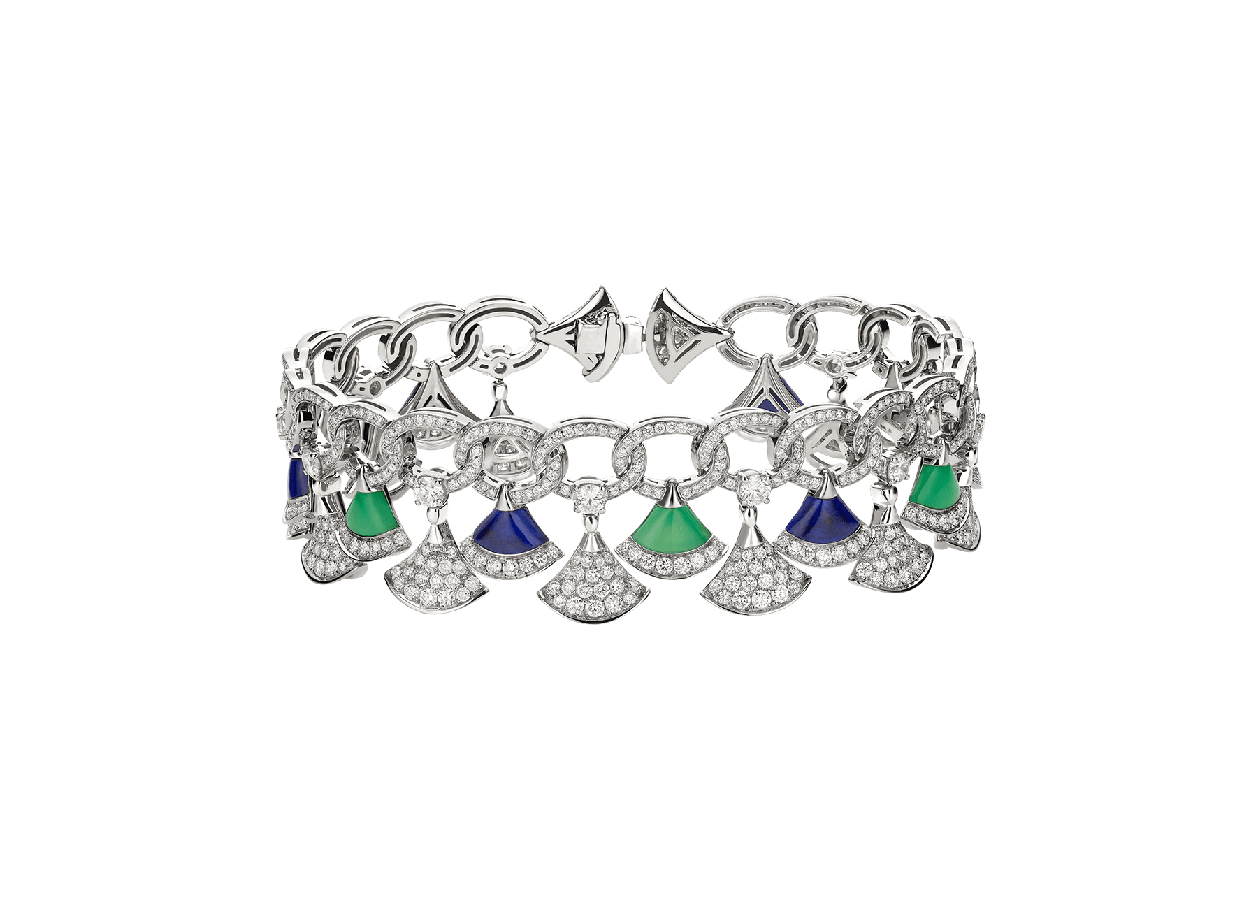 DIVAS' DREAM bracelet in 18 kt white gold set with lapis lazuli and chrysoprase elements and pavé diamonds. 354097 image 2
