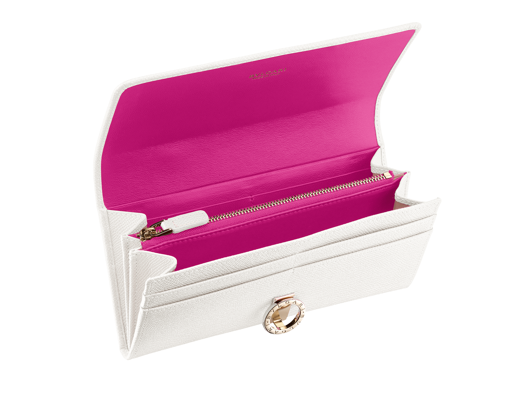 BVLGARI BVLGARI wallet pochette in cobalt tourmaline grain calf leather and aster amethyst nappa leather. Iconic logo closure clip in light gold plated brass 579-WLT-POCHE-16CCc image 2