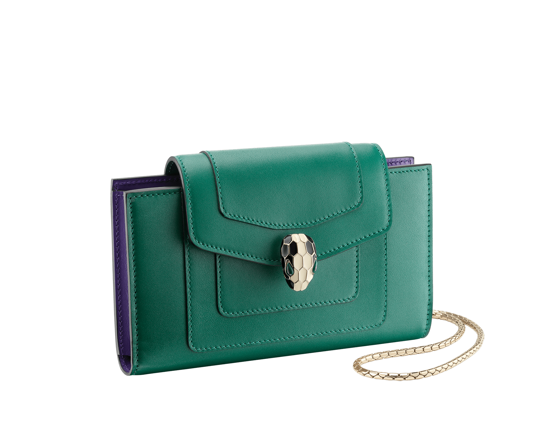Techno-hybrid Serpenti Forever in flash amethyst calf leather, with black calf leather lining. Brass light gold plated Serpenti head stud closure in black and white enamel, with green enamel eyes. SEA-TECHNO-HYBRIDa image 1