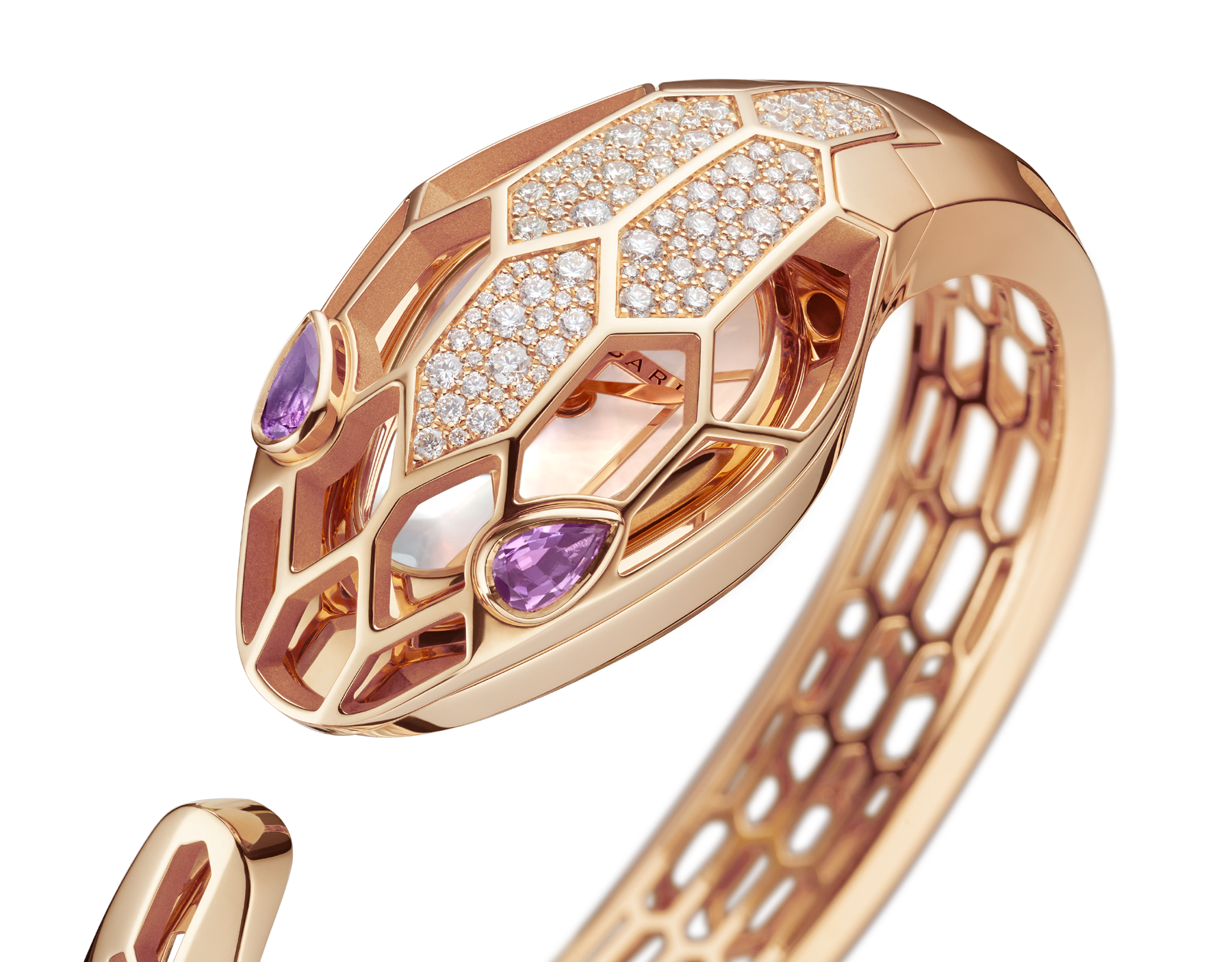 Serpenti Misteriosi Secret Watch with 18 kt rose gold skeletonized case set with round brilliant-cut diamonds, white mother-of-pearl dial, 18 kt rose gold skeletonized bangle bracelet and pear-shaped amethyst eyes. SrpntMister-SecretWtc-rose-gold image 4