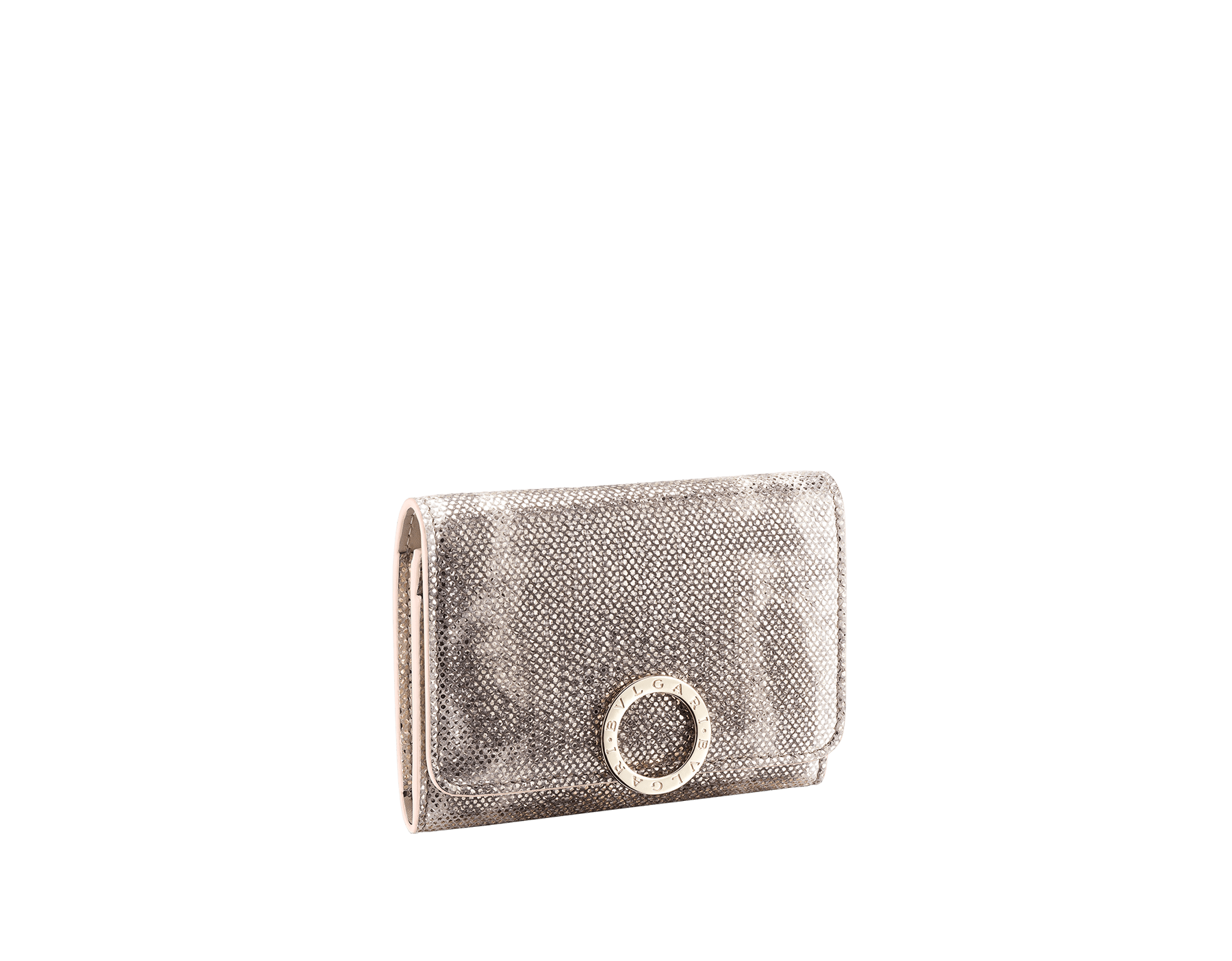 Business card holder in emerald green shiny karung skin and amethyst purple nappa. Iconic brass light gold plated clip featuring the BVLGARI BVLGARI motif. 579-BC-HOLDER-MK image 1