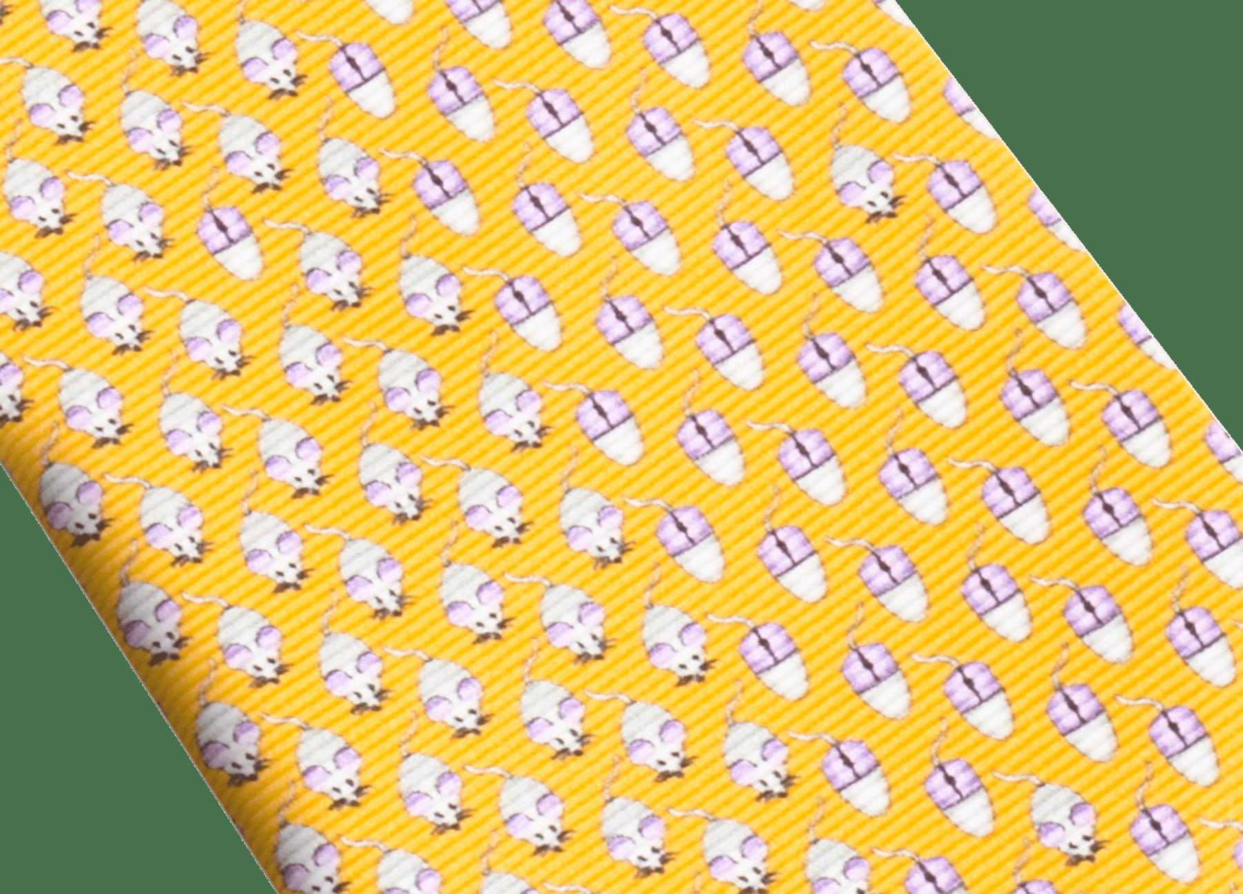 Mandarin Mouse Click pattern seven-fold tie in fine saglione printed silk. 244205 image 2