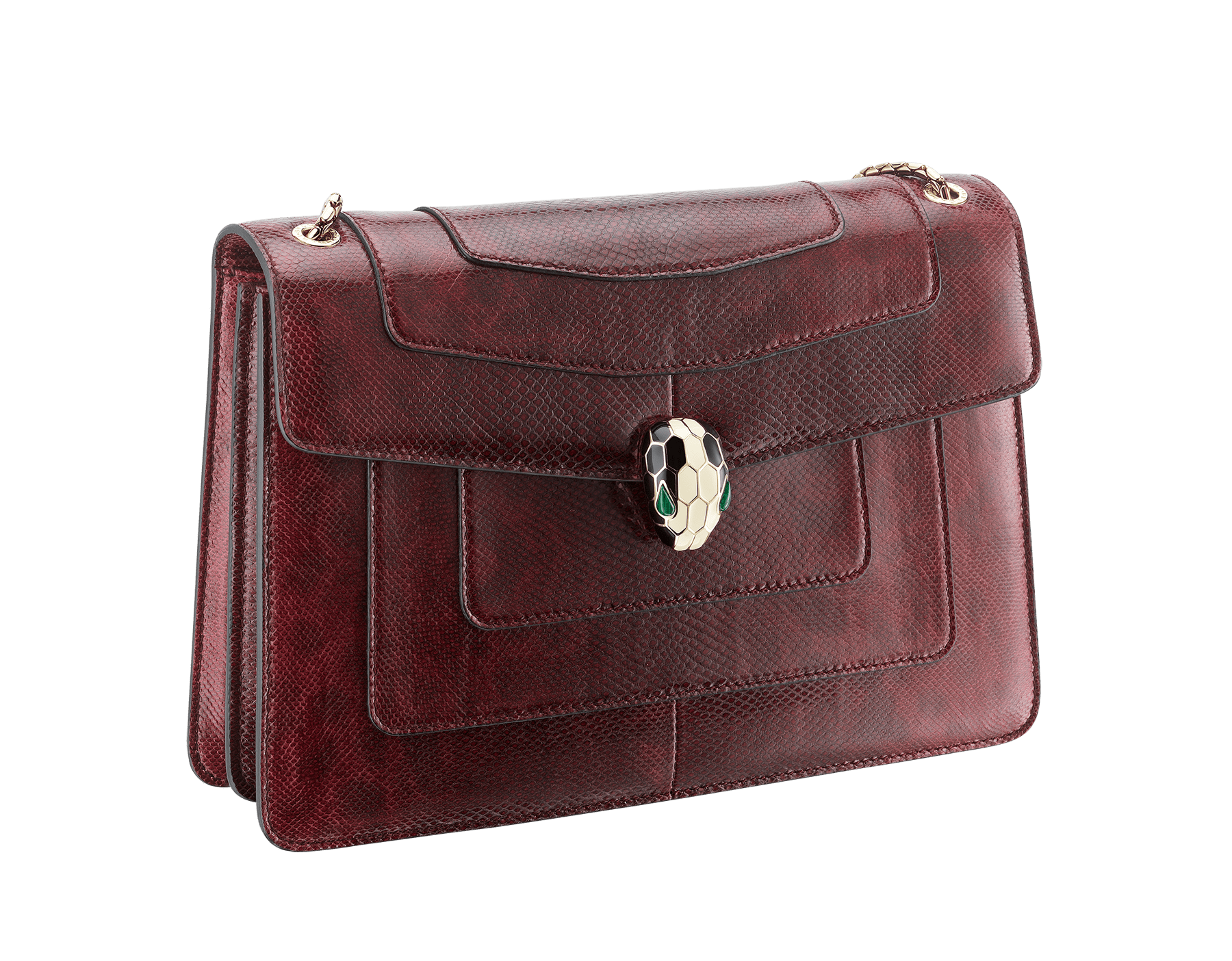 Flap cover bag Serpenti Forever in roman garnet shiny karung skin. Brass light gold plated tempting snake head closure in shiny black and white enamel, with eyes in green malachite. 286199 image 2
