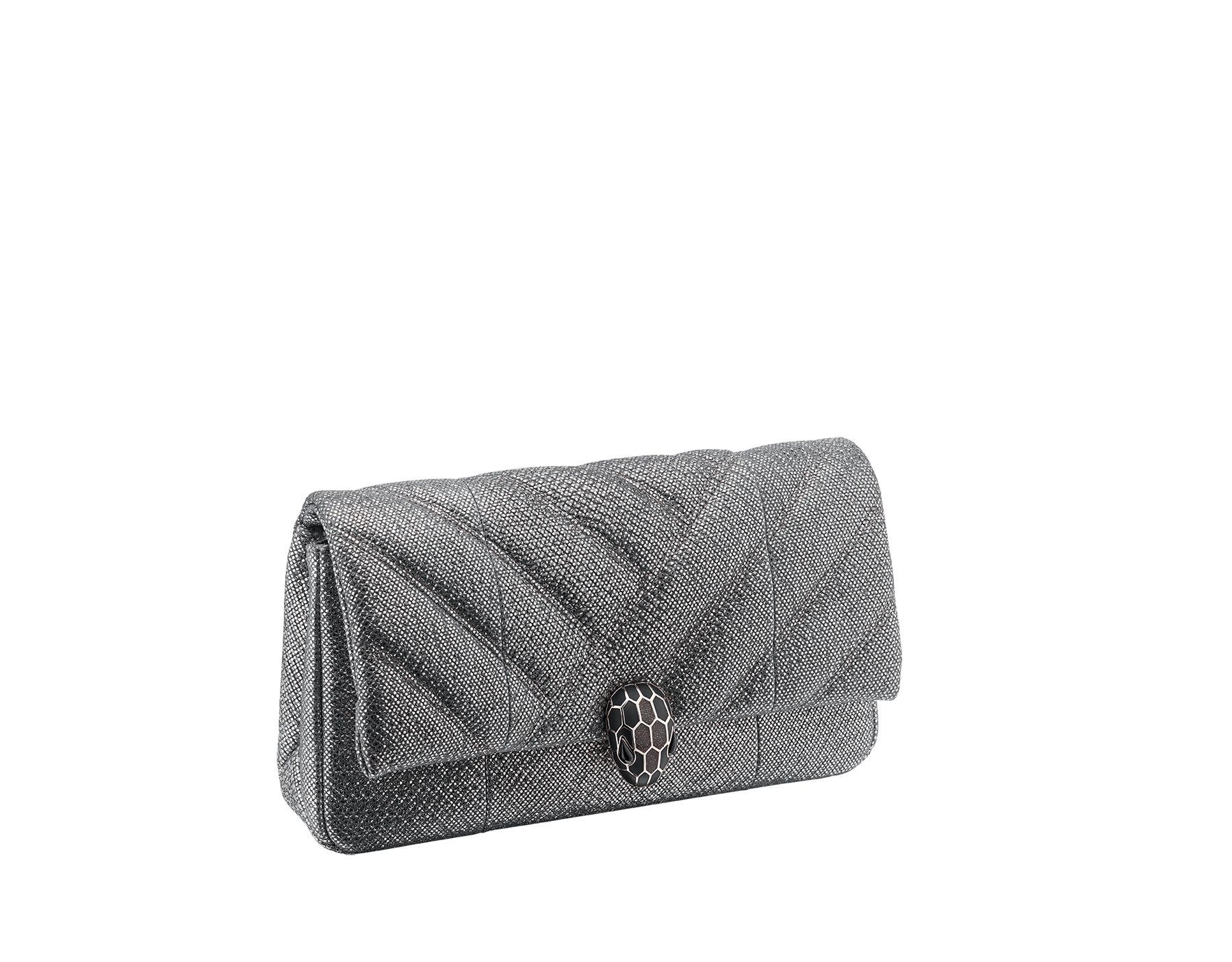 Serpenti Cabochon clutch bag in charcoal diamond metallic karung skin, with a graphic motif. Brass light gold plated tempting snake head closure in black and glitter charcoal diamond enamel and black onyx eyes. 289303 image 2