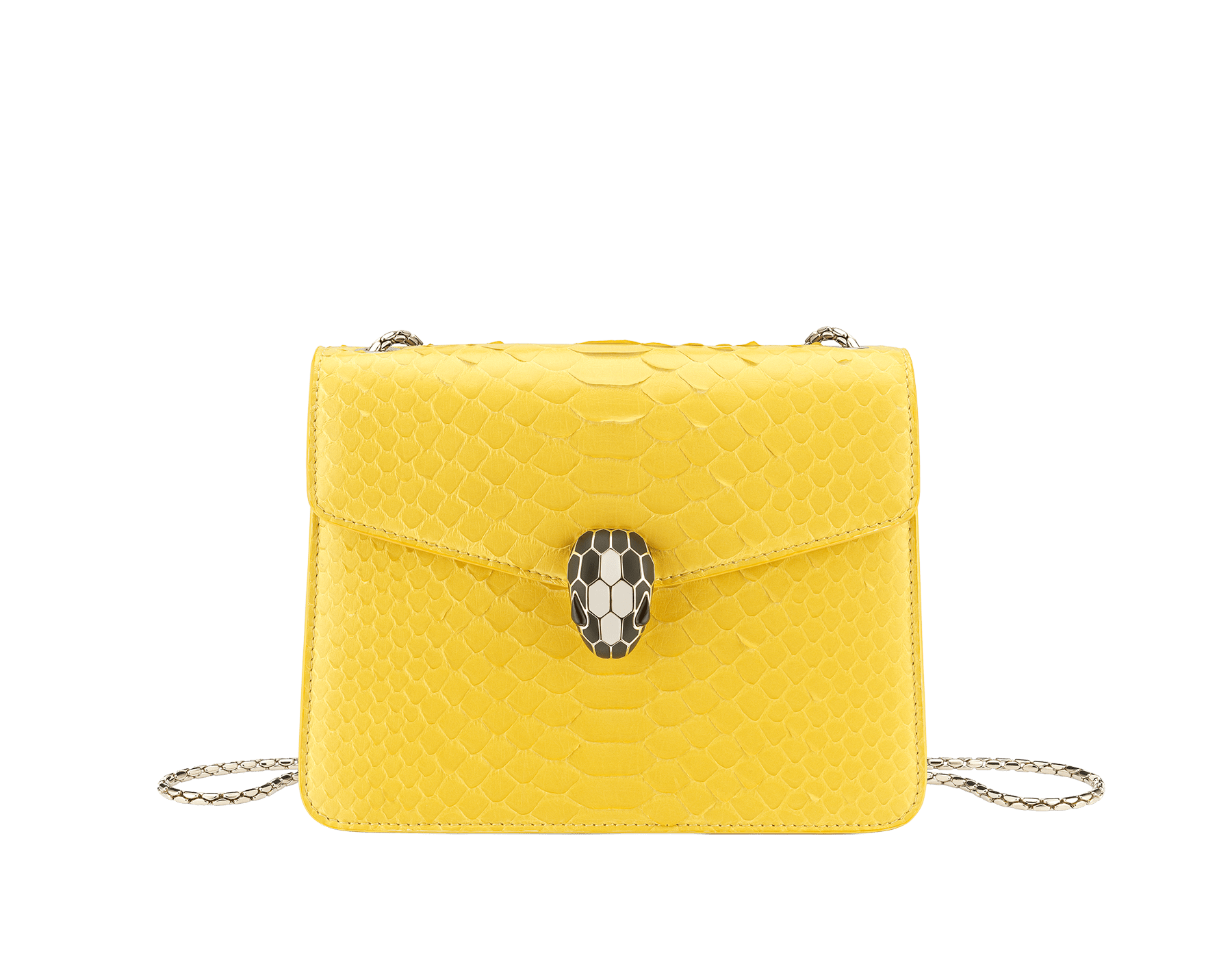 """""""Serpenti Forever"""" crossbody bag in white agate python skin with an iridescent finishing. Iconic snake head closure in light gold plated brass enriched with matte and shiny black enamel, and black onyx eyes. 422-Pa image 1"""