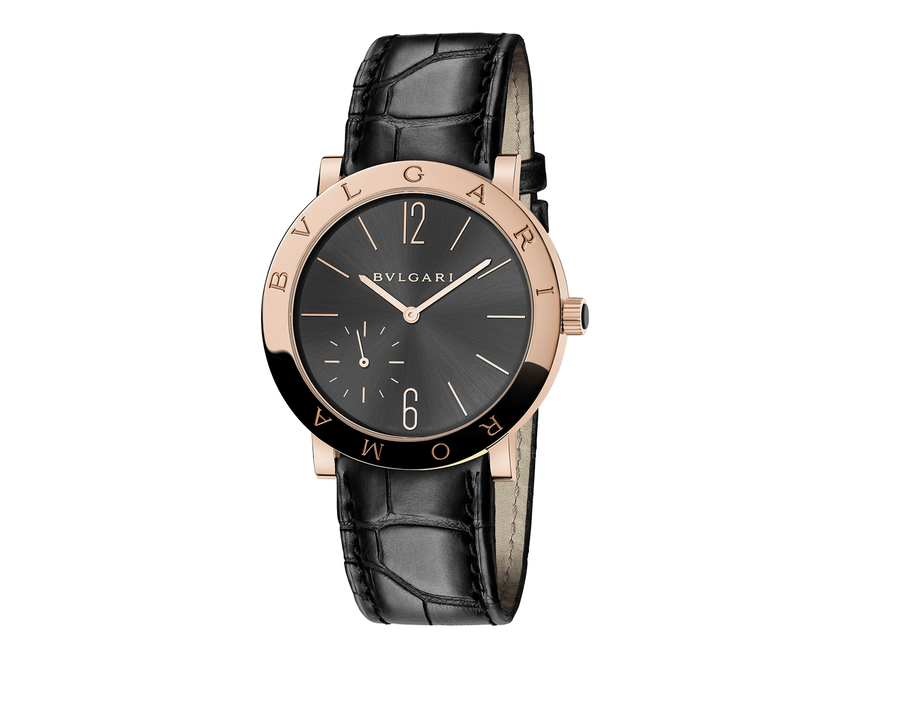 BVLGARI ROMA watch with mechanical manufacture movement, manual winding, small seconds, 18 kt rose gold case, anthracite dial and black alligator strap 102505 image 1