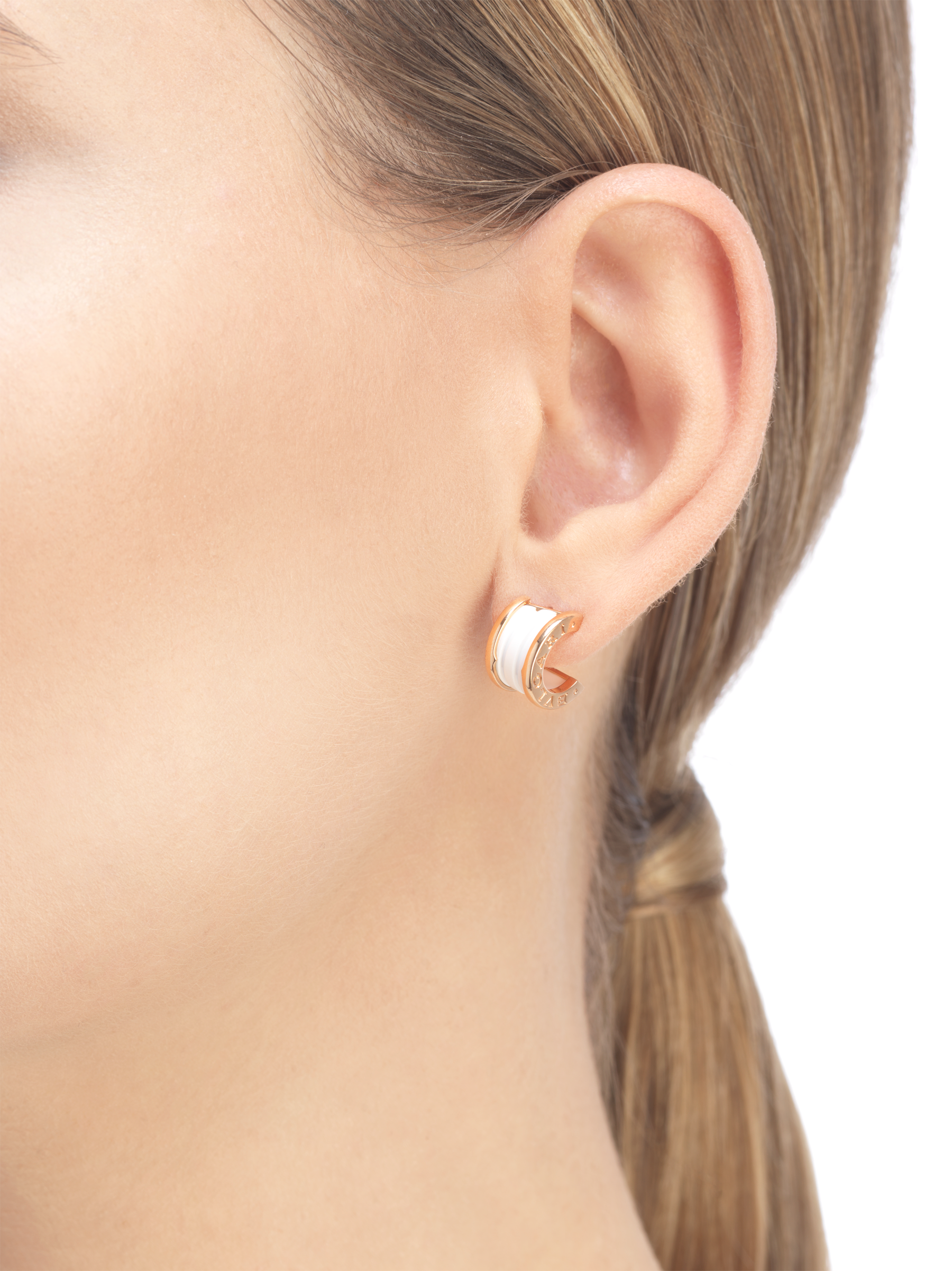 B.zero1 earrings in 18kt rose gold and white ceramic. 346464 image 3