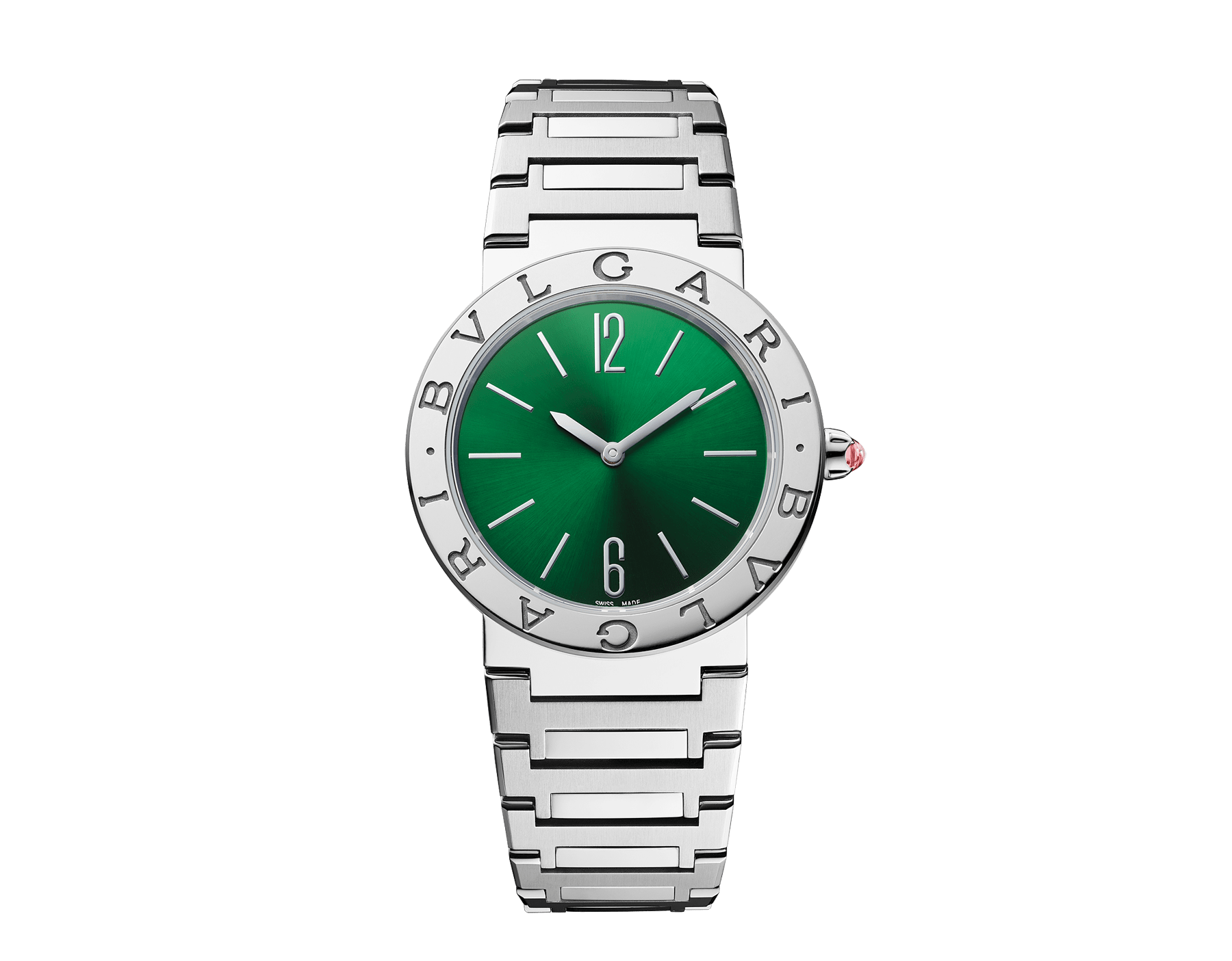 BVLGARI BVLGARI LADY watch with stainless steel case, stainless steel bracelet, stainless steel bezel engraved with double logo and green sun-brushed dial. 103066 image 1