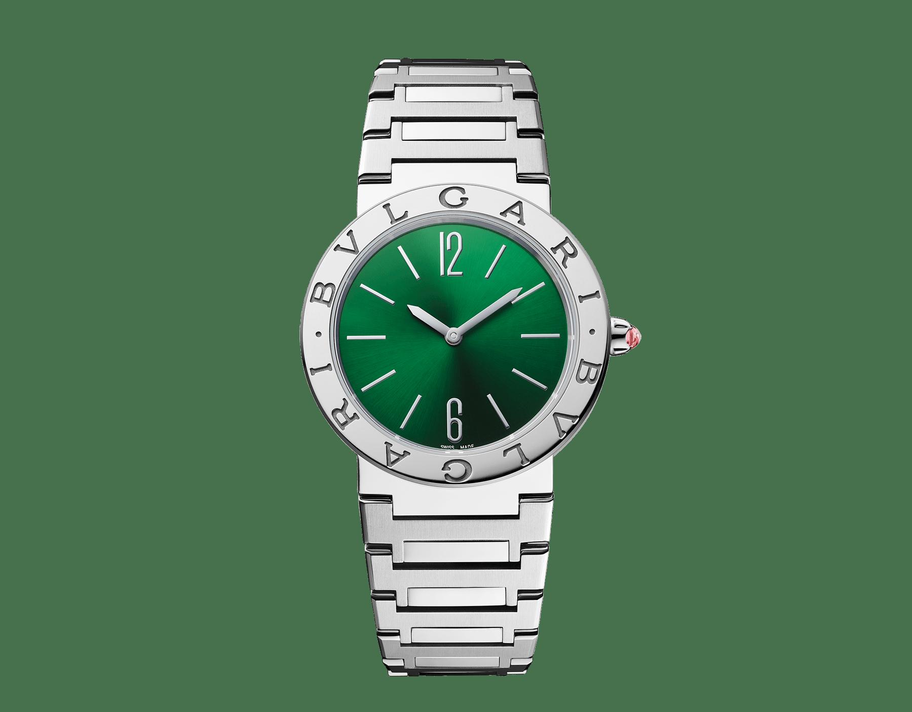 BVLGARI BVLGARI LADY 腕錶,精鋼錶殼和錶帶,精鋼錶圈鐫刻雙品牌標誌,綠色太陽放射紋錶盤。 103066 image 1