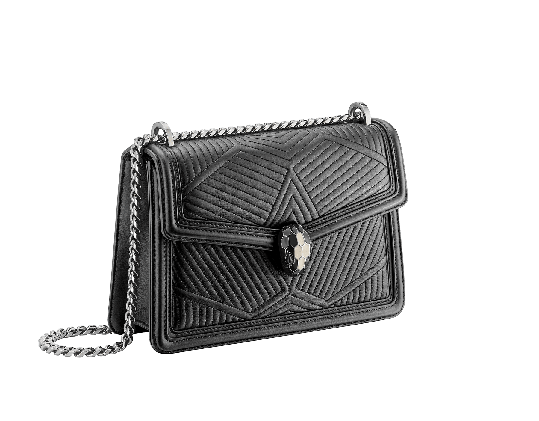 """Serpenti Diamond Blast"" shoulder bag in black quilted nappa leather body and black calf leather frames. Iconic snakehead closure in dark ruthenium plated brass enriched with black and white enamel and black onyx eyes. 287371 image 3"