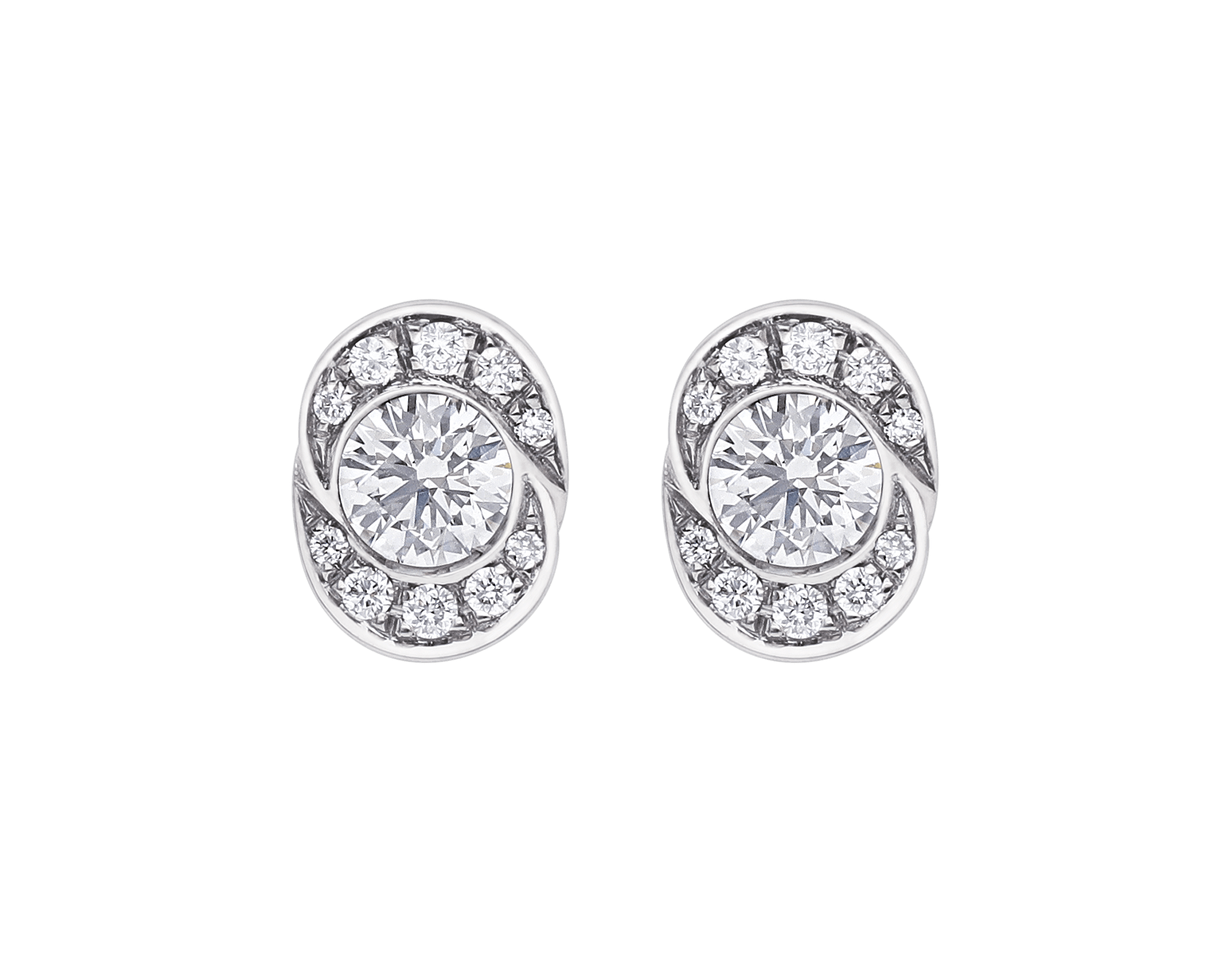Incontro d'Amore earrings in 18 kt white gold set with two central diamonds and pavé diamonds. 355250 image 1