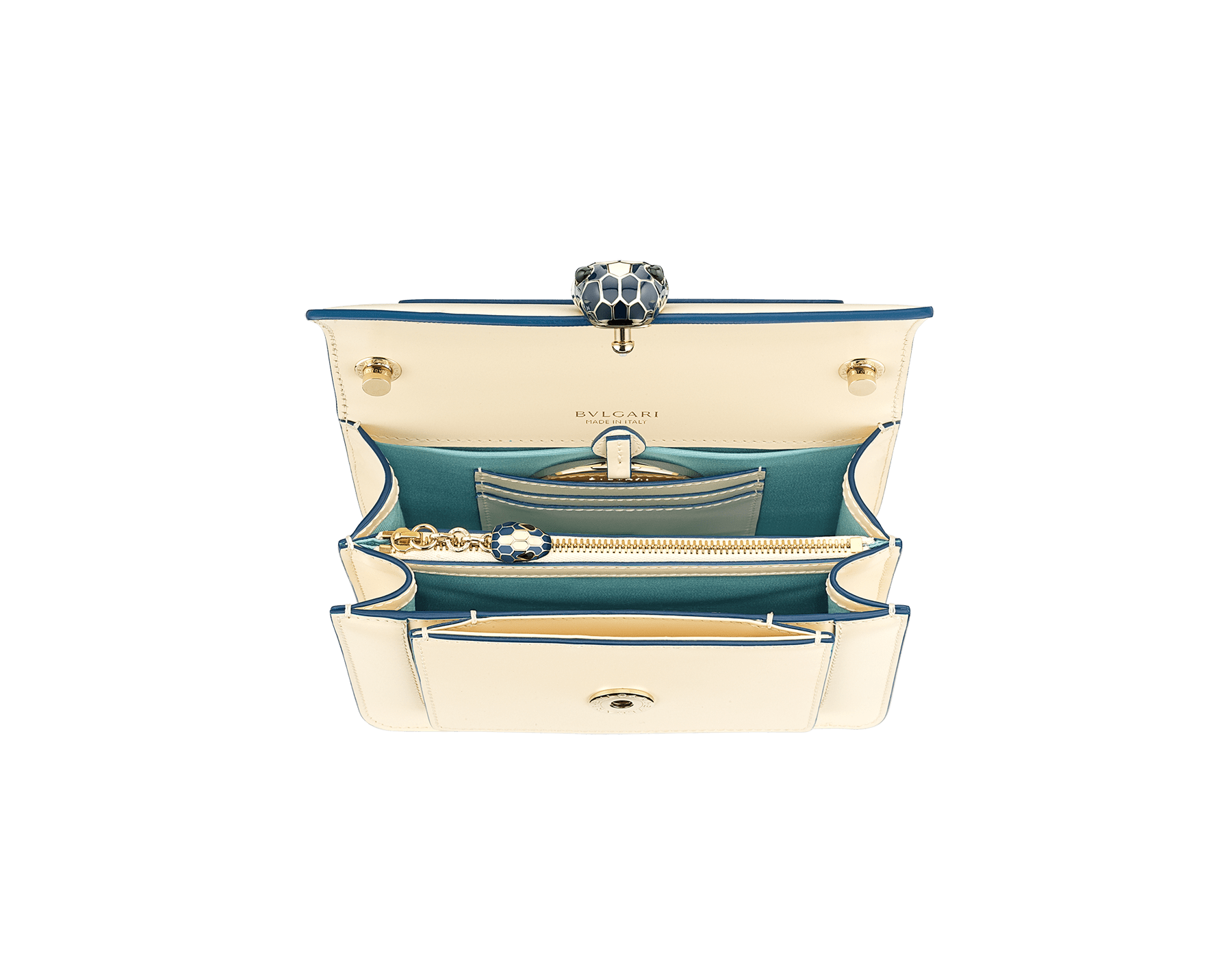 """""""Serpenti Forever"""" crossbody bag in mint calf leather. Iconic snakehead closure in light gold plated brass enriched with black and white agate enamel and green malachite eyes. 1082-CLb image 4"""