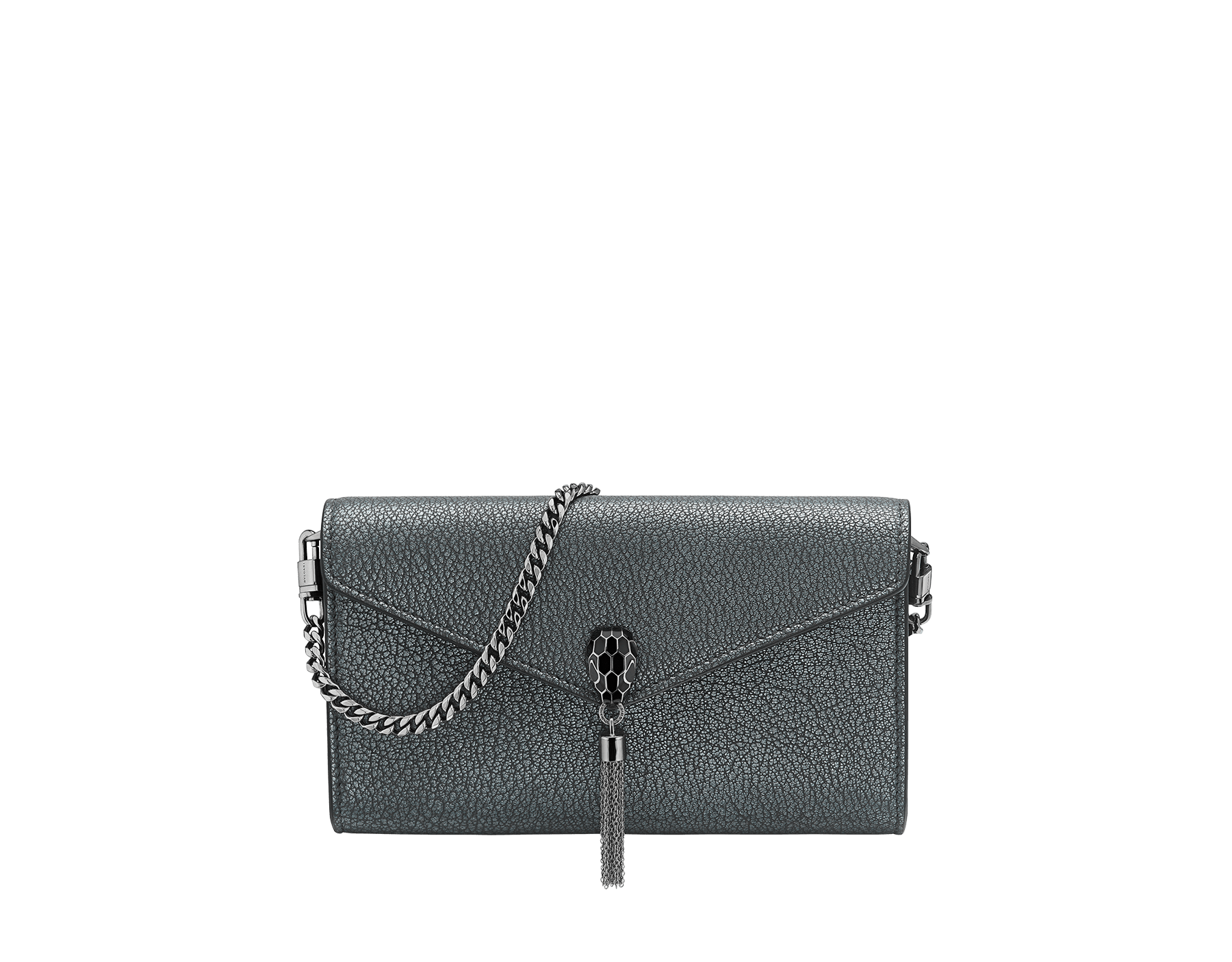 """""""Serpenti Forever"""" small pochette in charcoal diamond goatskin with a pearled effect and black nappa leather. Iconic snakehead stud closure a with tassel in dark ruthenium plated brass, enamelled in matte and shiny black and finished with black enamel eyes. SMALLPOCHETTE-LEATHER image 1"""