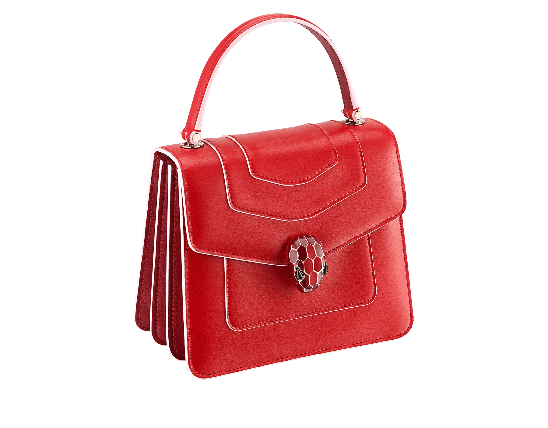 """Serpenti Forever "" crossbody bag in white agate calf leather body and ruby red calf leather sides. Iconic snakehead closure in light gold plated brass enriched with ruby red and white agate enamel and black onyx eyes. 752-BCLa image 4"