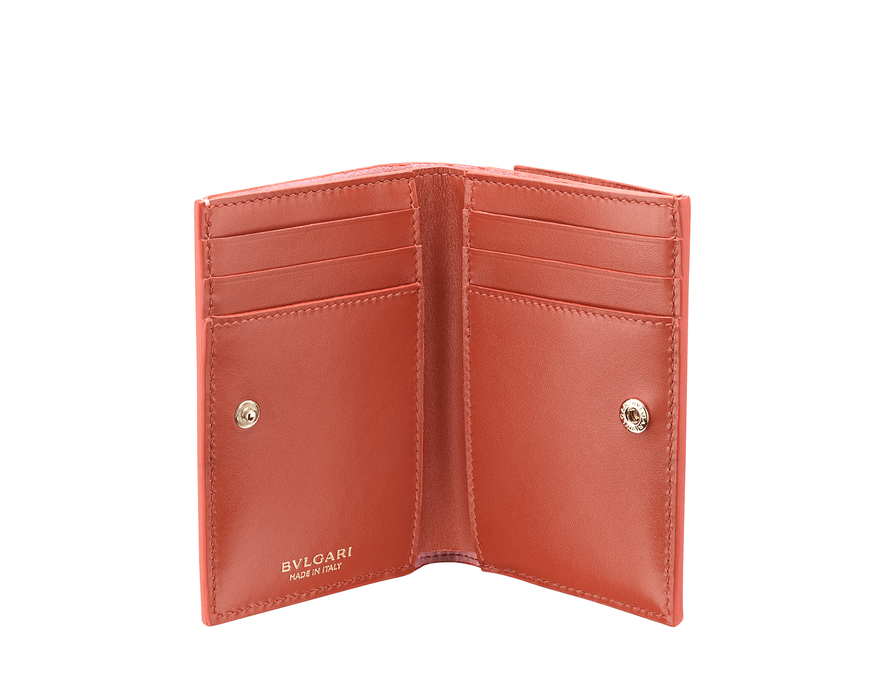 B.zero1 double folded credit card holder in rosa di francia and imperial topaz goatskin. Iconic B.zero1 charm in light gold plated brass. 289086 image 2