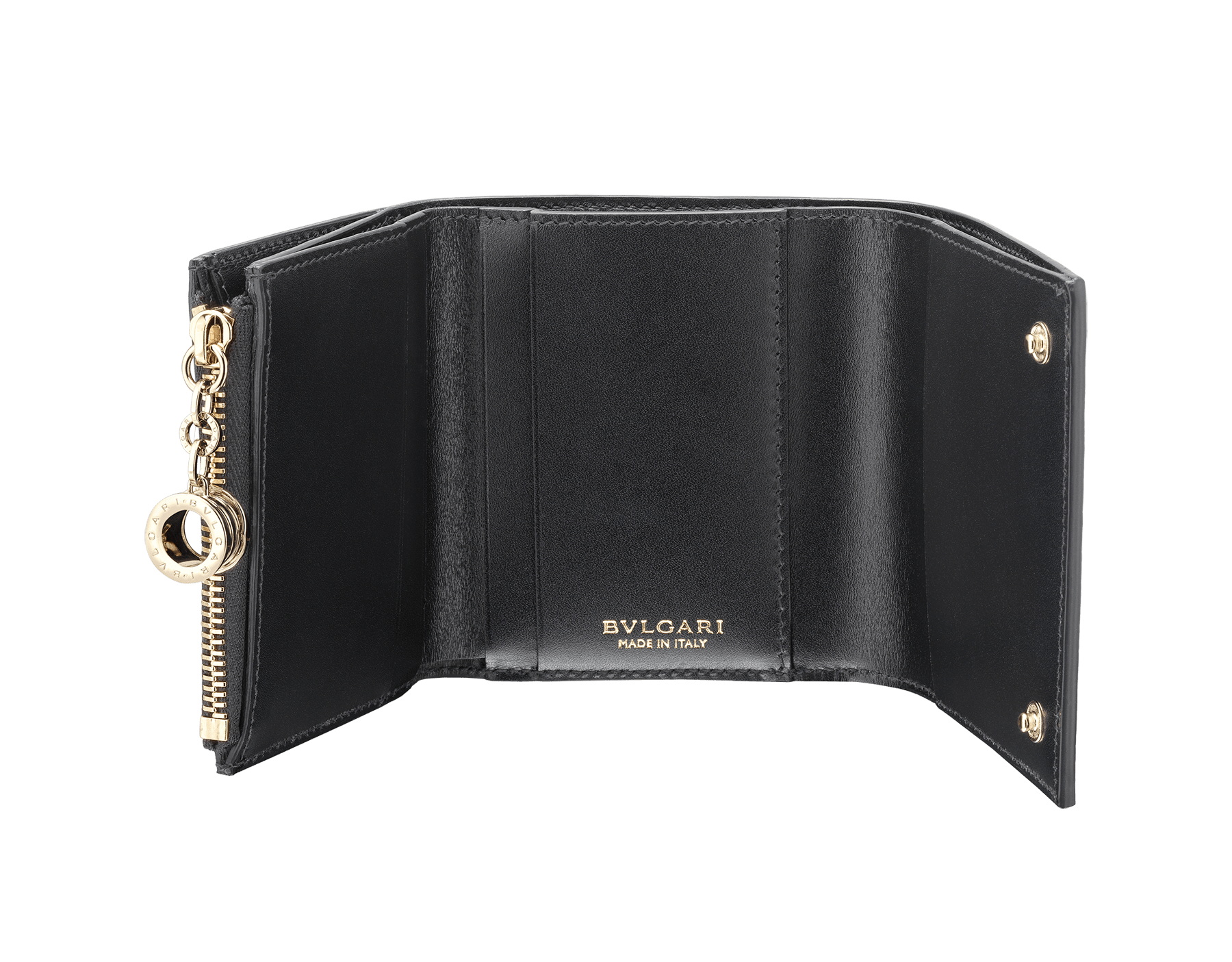 B.zero1 super compact wallet in black goatskin. Iconic B.zero1 charm in light gold plated brass. 288240 image 2