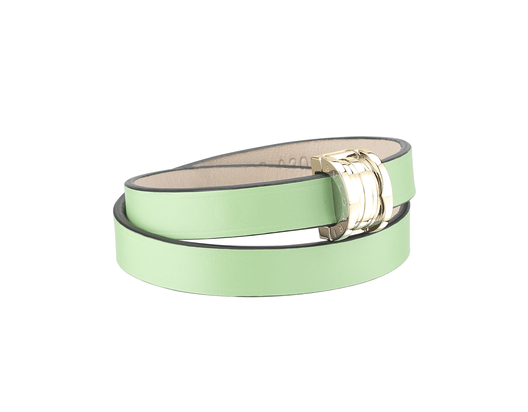 """Bvlgari Bvlgari"" double-coiled bracelet in mint calf leather, with B.Zero1 snap closure in light gold plated brass. BZERO1-CL-M image 1"