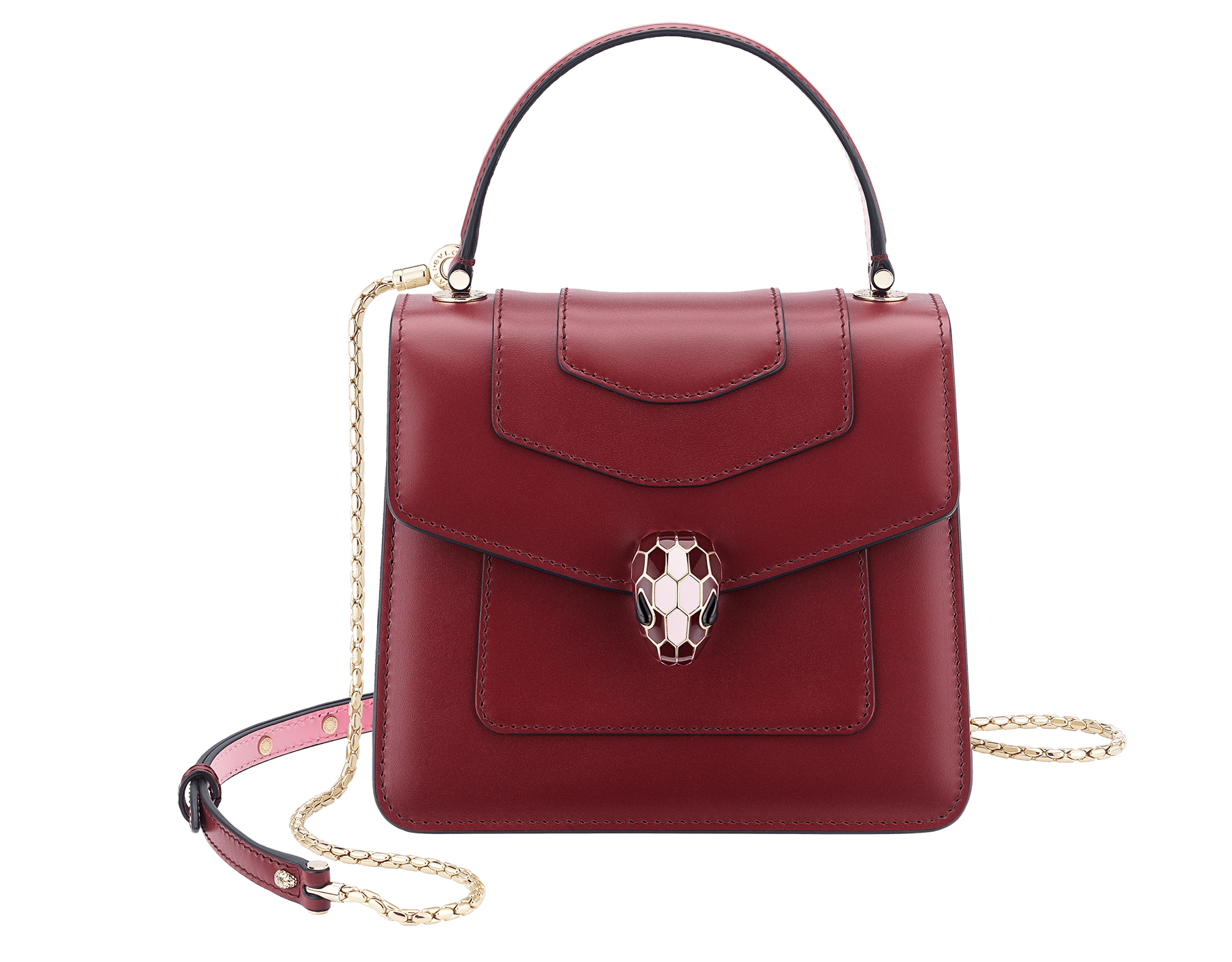 Serpenti Forever crossbody bag in Roman garnet calf leather, with flash amethyst, rosa di francia and white agate calf leather sides. Iconic snakehead closure in light gold plated brass embellished with Roman garnet and rosa di francia enamel and black onyx eyes. 288891 image 1