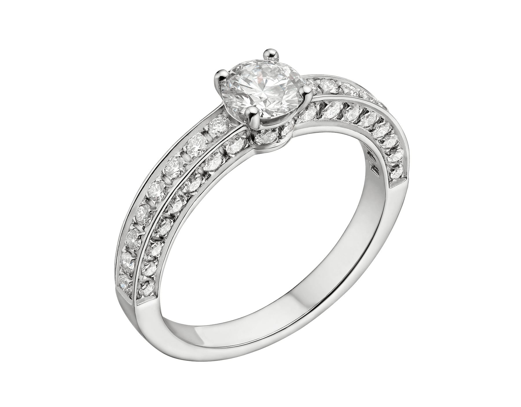 Dedicata a Venezia: 1503 solitaire ring in platinum with a round brilliant-cut diamond and pavé diamonds. Available from 0.30 ct. Named after the year in which the first engagement ring was offered in Venice. 348444 image 1