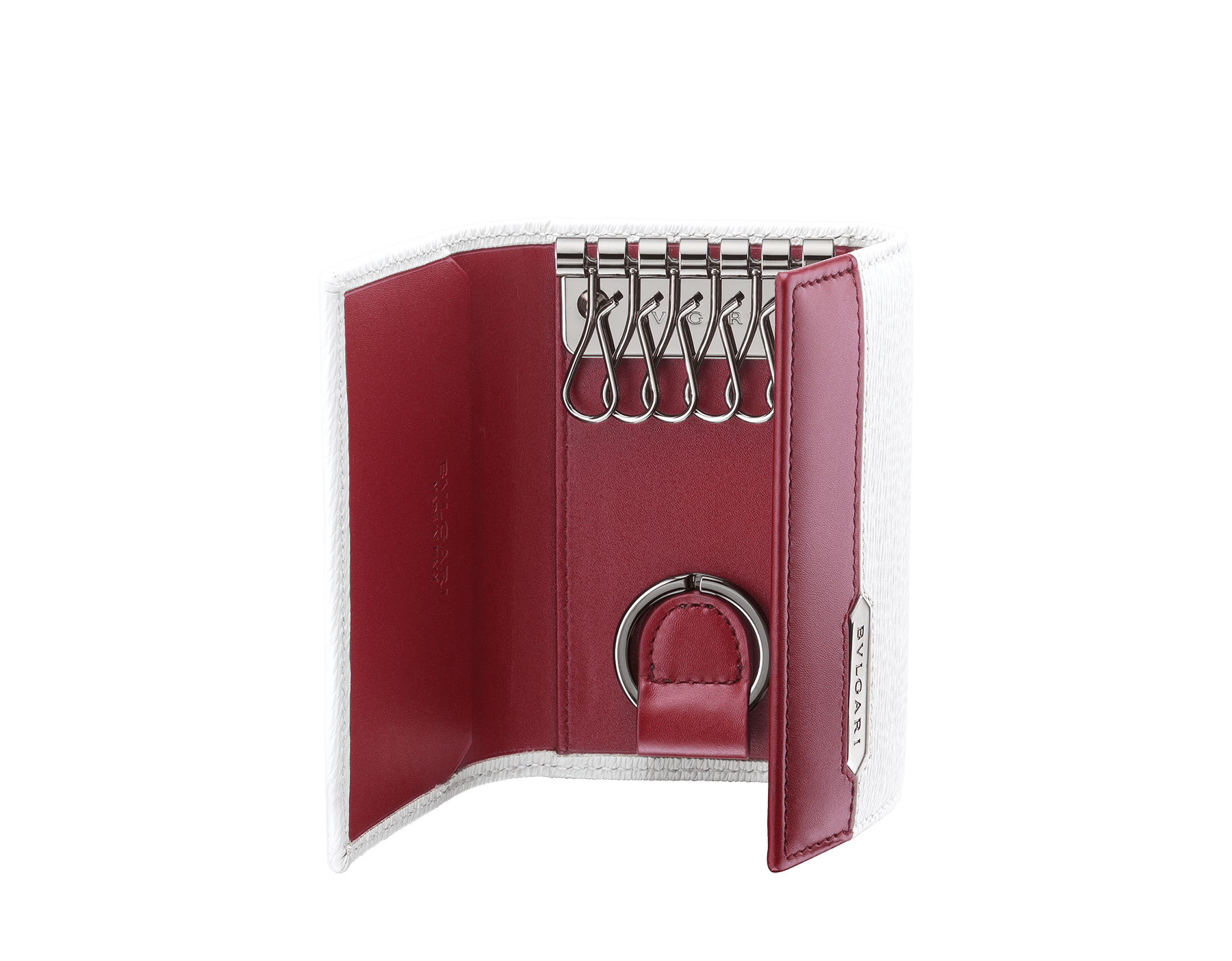 Serpenti Scaglie men's key holder in white agate grazed calf leather and roman garnet calf leather. Bvlgari logo engraved on the hexagonal scaglie metal plate finished in dark ruthenium. 288461 image 2