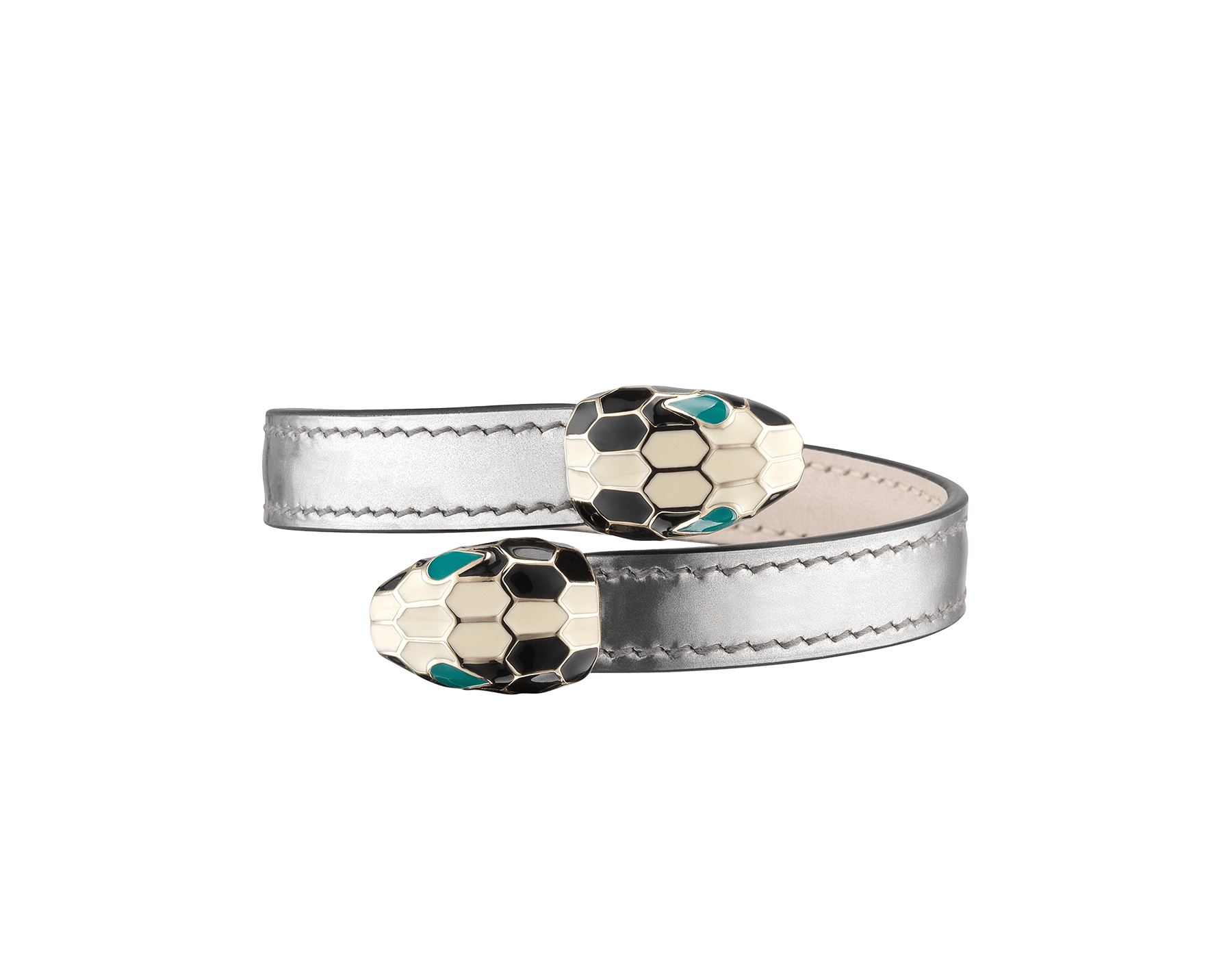Serpenti Forever soft bangle bracelet in shiny silver brushed metallic calf leather, with brass light gold plated hardware. Iconic contraire snakehead décor in black and white enamel, with green enamel eyes. SerpSoftContr-BMCL-S image 1