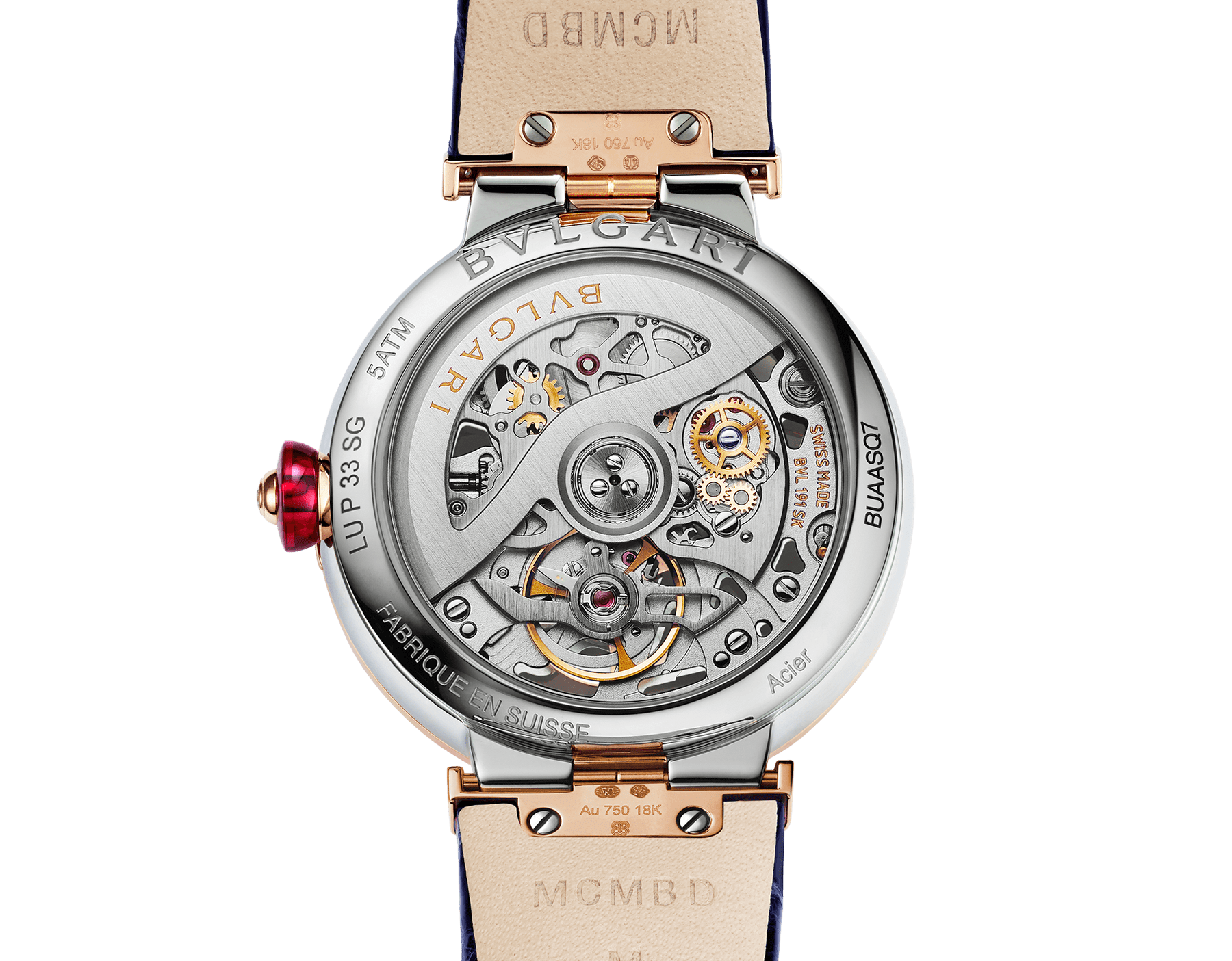LVCEA Skeleton watch with mechanical manufacture movement, automatic winding and skeleton execution, stainless steel and 18 kt rose gold case, 18 kt rose gold openwork BVLGARI logo dial set with brilliant-cut diamonds and blue alligator bracelet with 18 kt rose gold links set with diamonds 103502 image 4