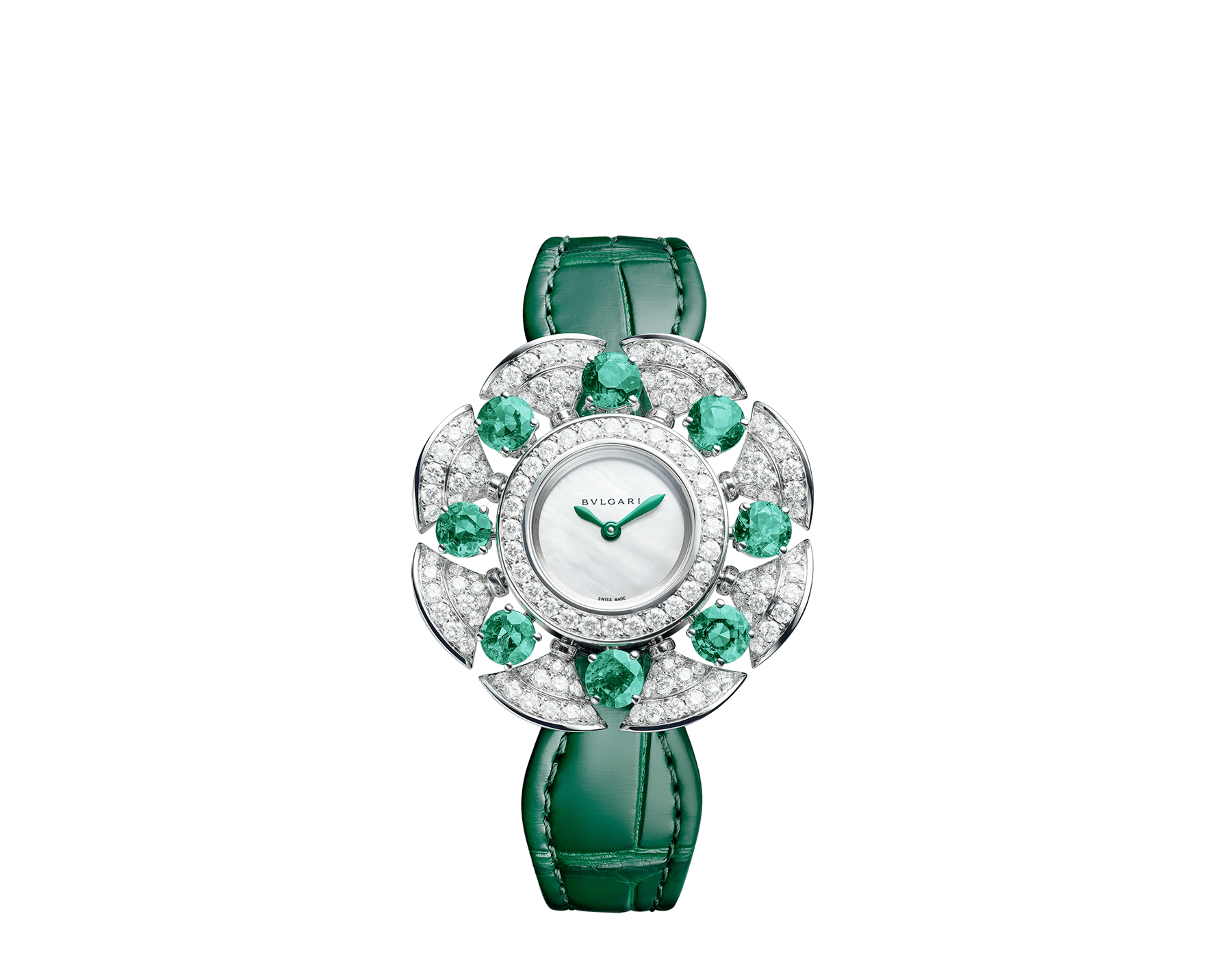 DIVAS' DREAM Divissima High Jewellery watch with 18 kt white gold case and mobile petals set with 8 brilliant-cut emeralds and round brilliant-cut diamonds, mother-of-pearl dial, and green alligator bracelet. Water-resistant up to 30 metres 103505 image 1