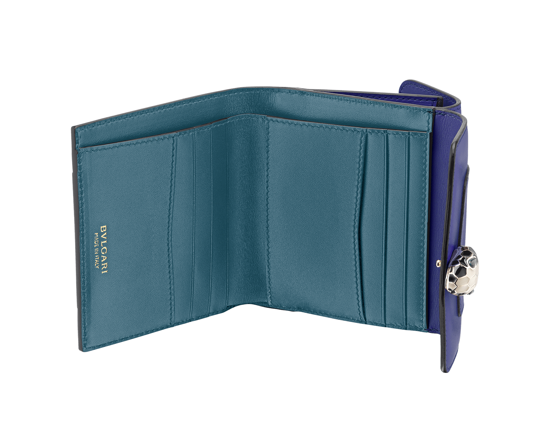 Serpenti Forever square compact wallet in daisy topaz and crystal rose calf leather. Iconic snake head stud closure in black and white agate enamel, with green malachite eyes. SEA-WLT-COMPACT-3Fa image 2