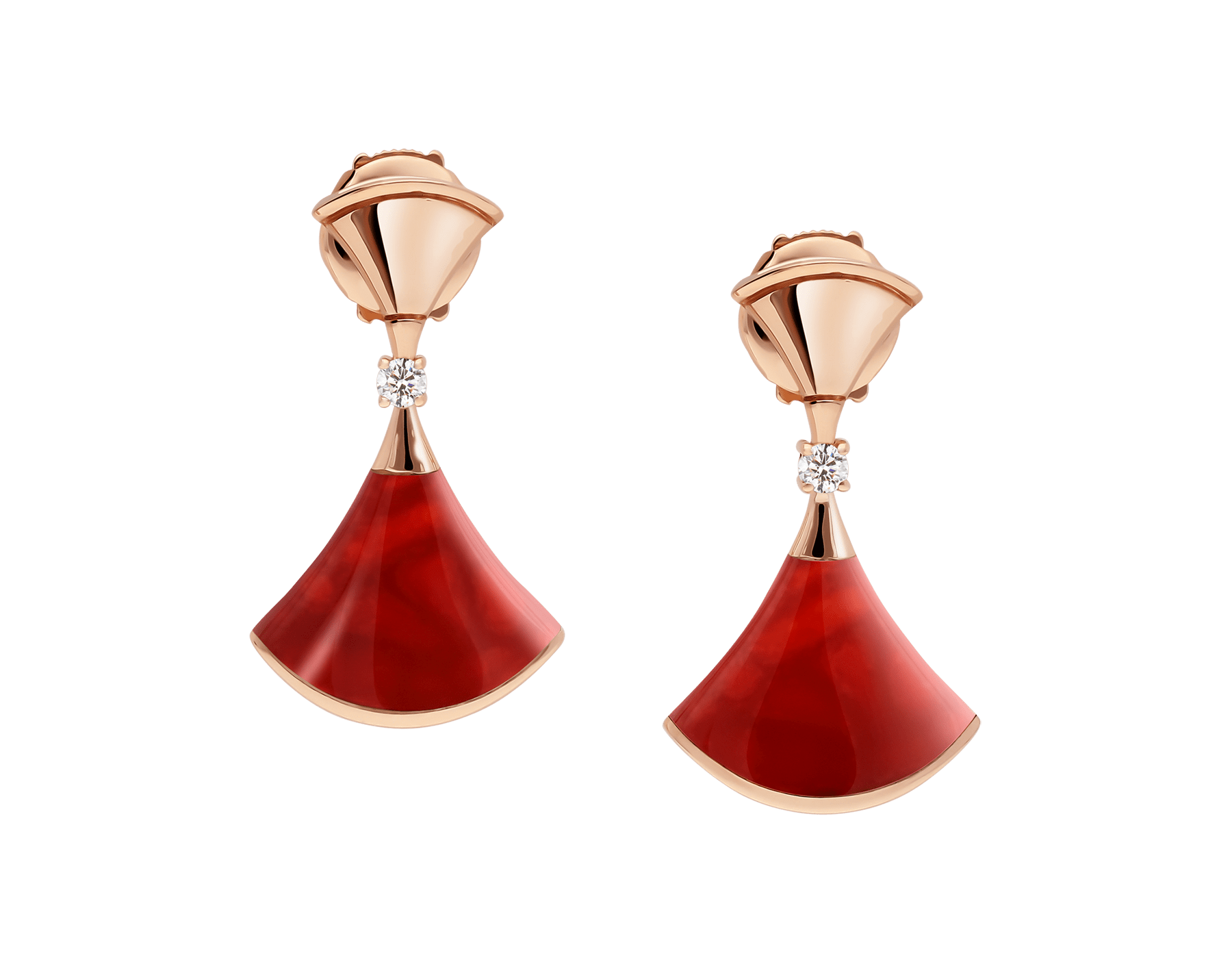 DIVAS' DREAM 18 kt rose gold earrings, set with carnelian elements and round brilliant-cut diamonds. 356749 image 1