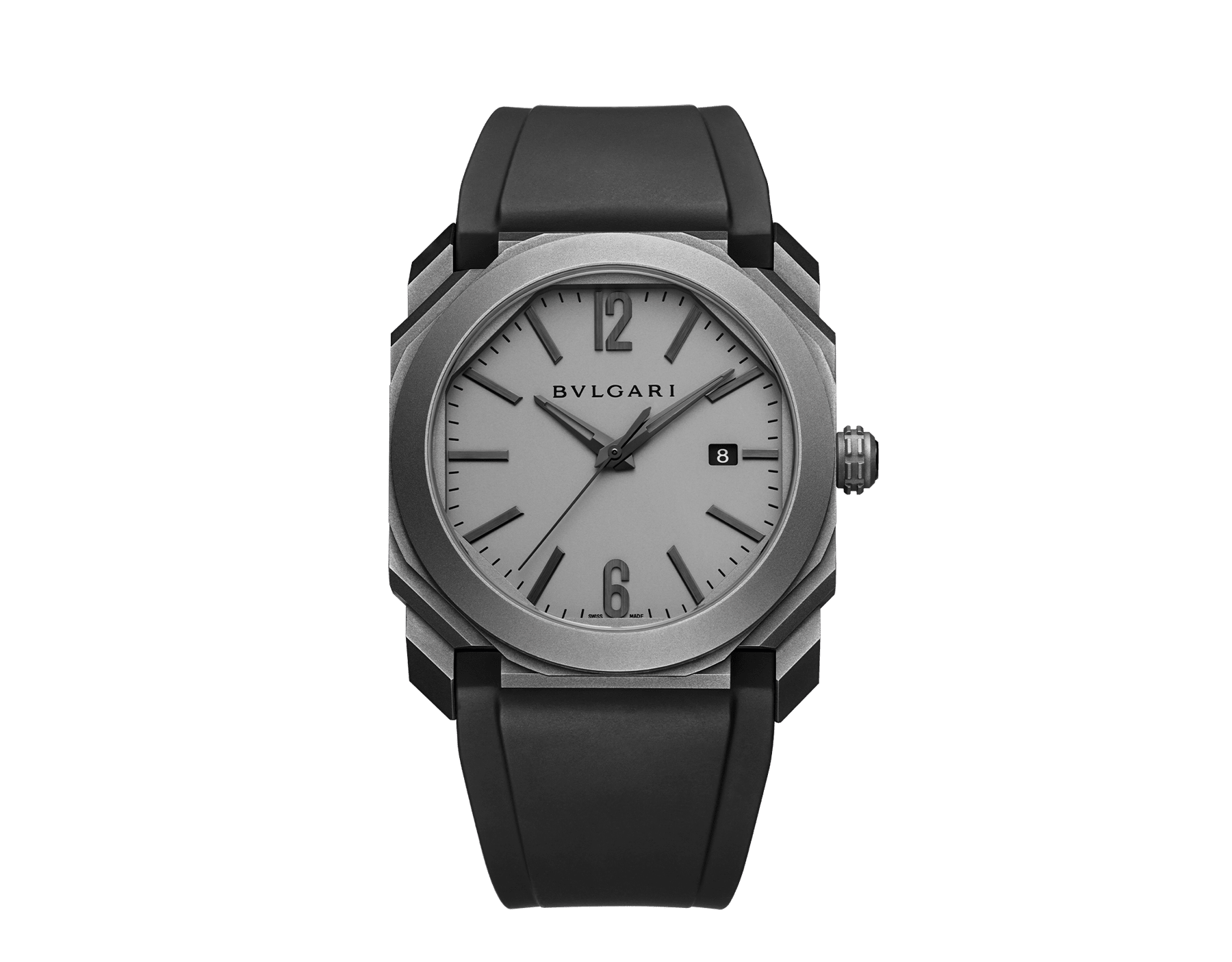 Octo L'Originale watch with mechanical manufacture movement, automatic winding, instantaneous date, titanium case and dial, and black rubber bracelet 102858 image 1