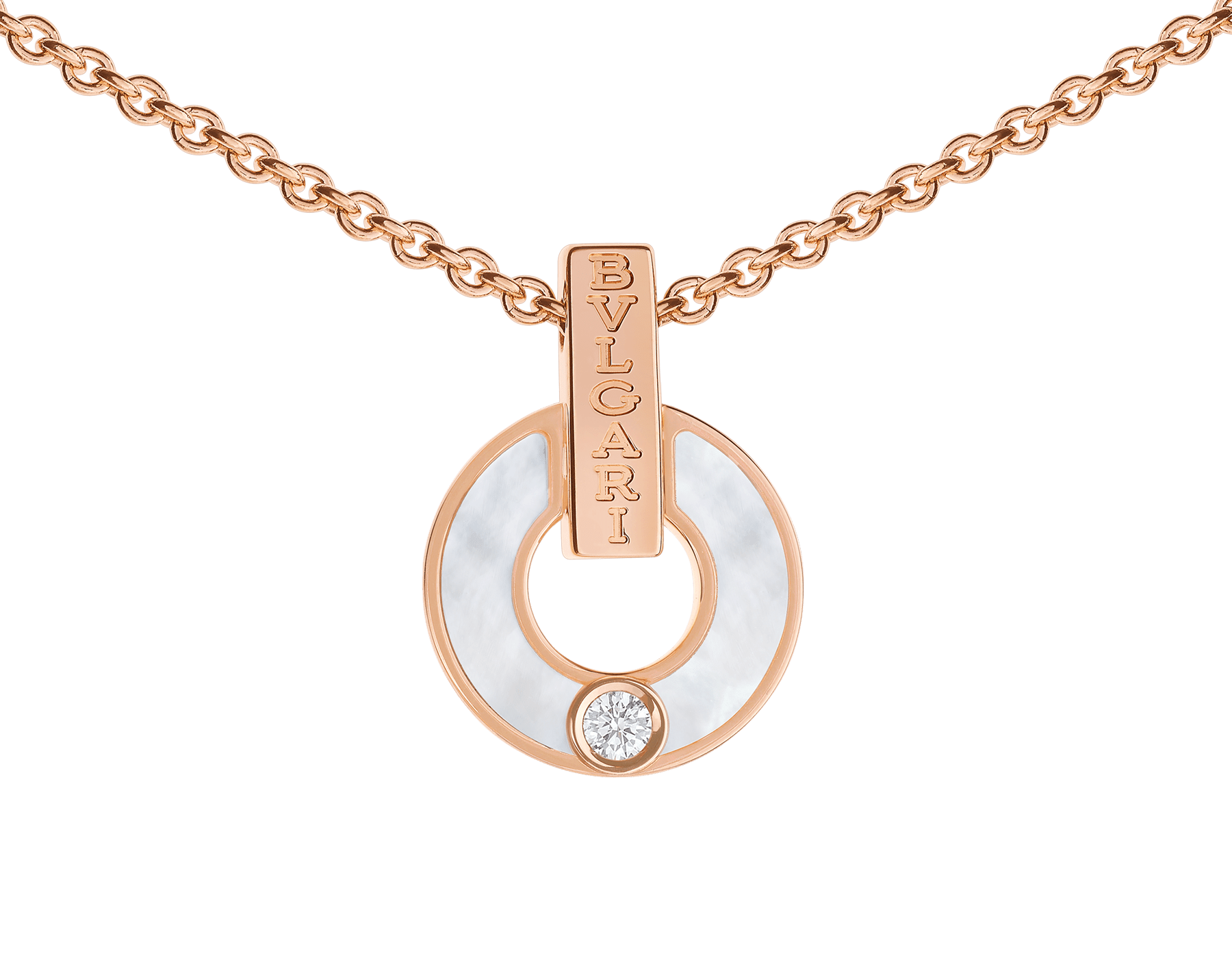 BVLGARI BVLGARI Openwork 18 kt rose gold necklace set with mother-of-pearl elements and a round brilliant-cut diamond 357546 image 3