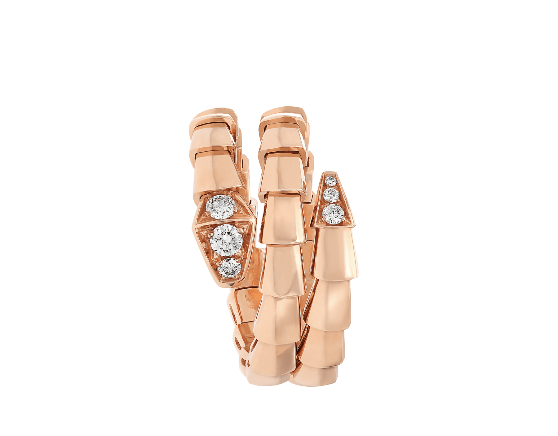 Serpenti Viper two-coil 18 kt rose gold ring, set with demi-pavé diamonds AN858824 image 2