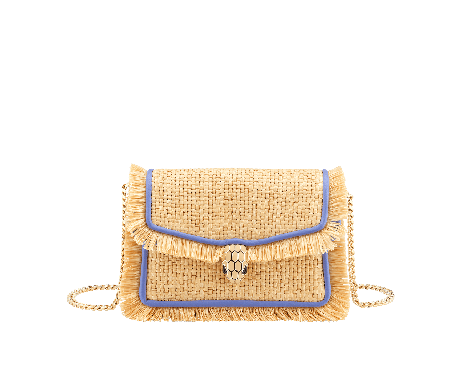 """Serpenti Diamond Blast"" crossbody mini bag in beige raffia body, Lavender Amethyst lilac calfskin frames, finished with beige raffia fringes and Lavender Amethyst lilac nappa leather internal lining. Alluring snakehead closure in light gold-plated brass enhanced with full matte Natural beige enamel and black onyx eyes. 290958 image 1"