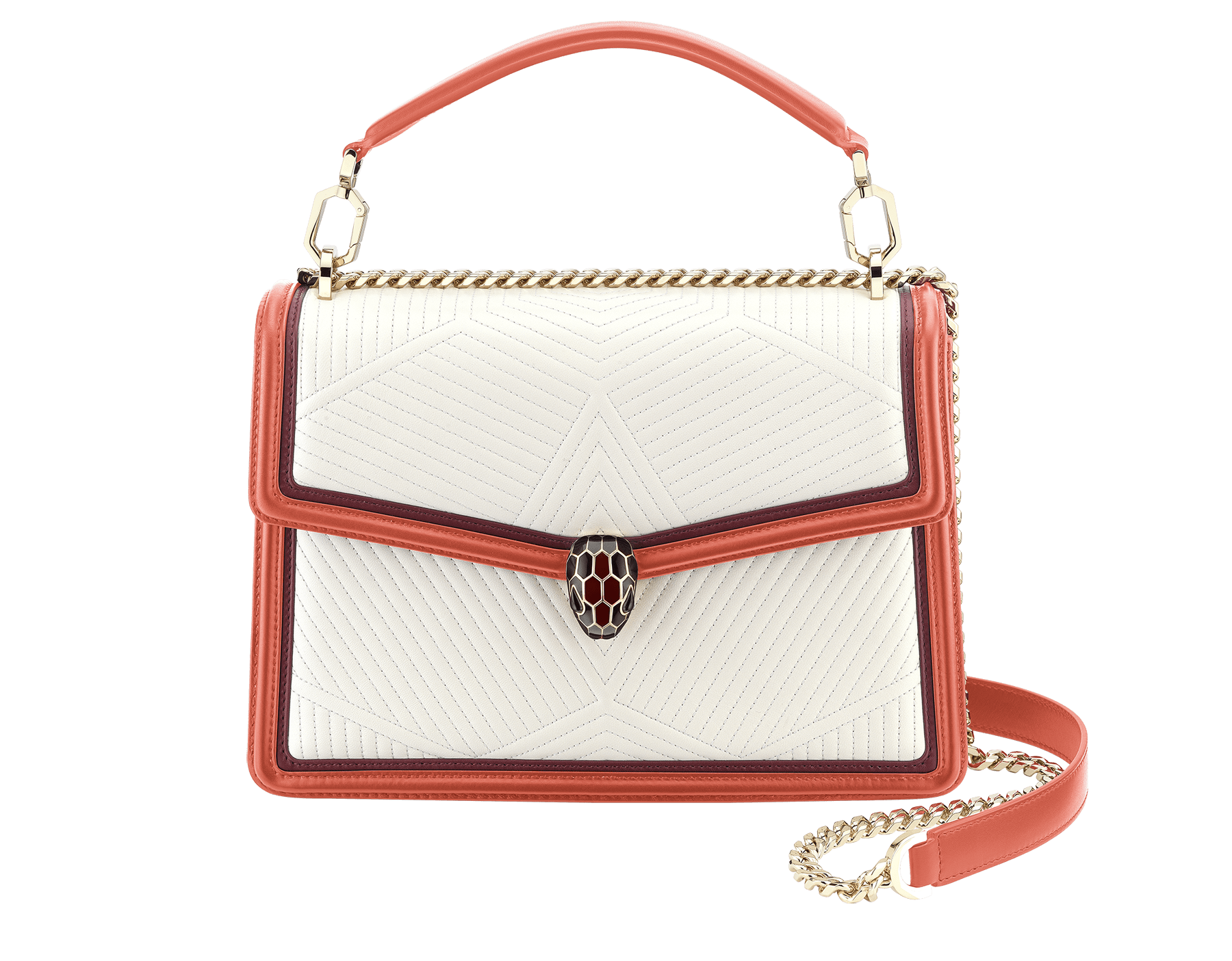 Serpenti Diamond Blast shoulder bag in white agate quilted nappa leather and imperial topaz with Roman garnet calf leather frames. Iconic snakehead closure in light gold plated brass embellished with Roman garnet and black enamel and black onyx eyes. 288840 image 1