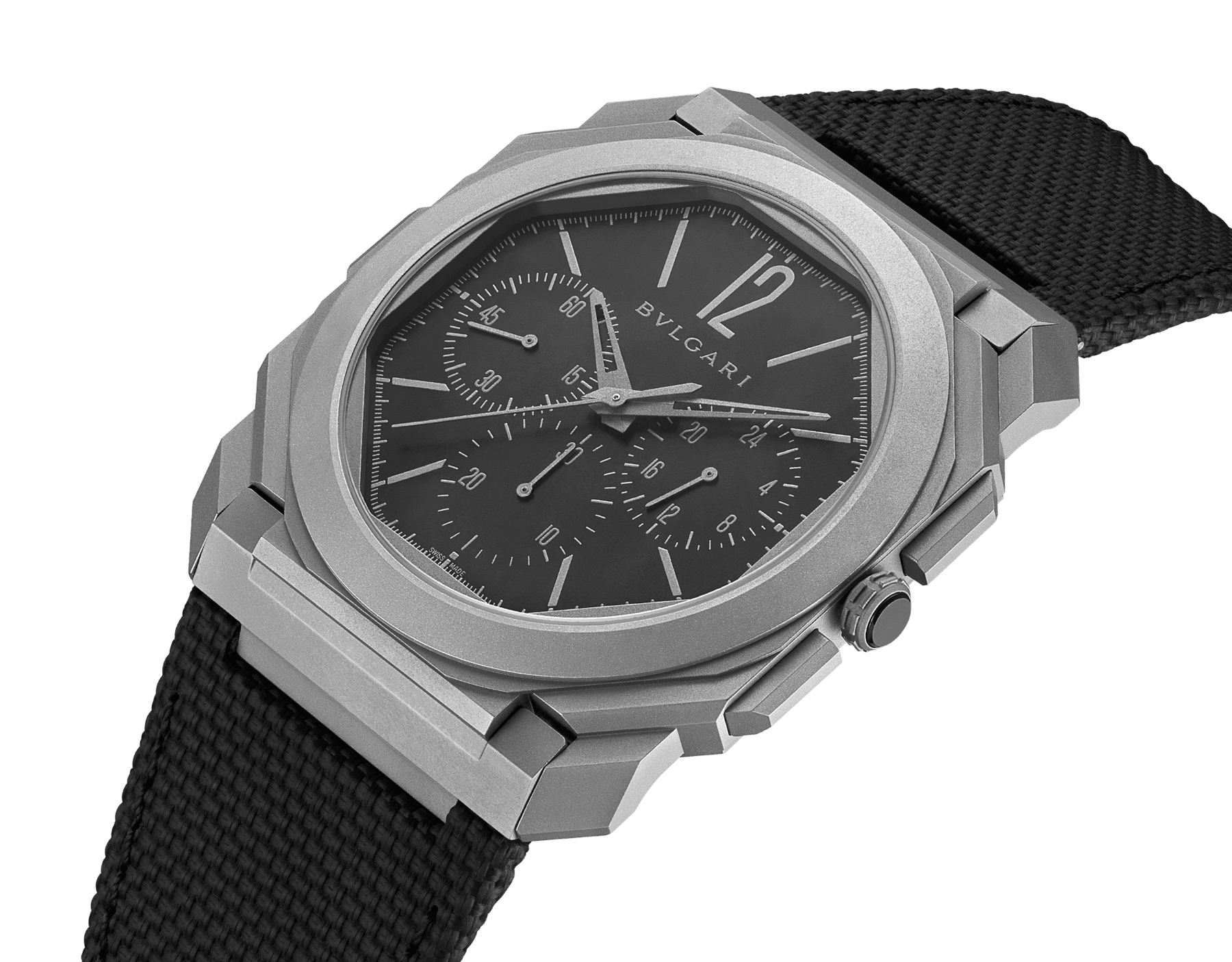 Octo Finissimo Chrono GMT watch with extra-thin mechanical manufacture chronograph and GMT movement, automatic winding with platinum peripheral rotor, titanium case, transparent case back, black dial and black rubber bracelet. Water-resistant up to 30 meters 103371 image 2