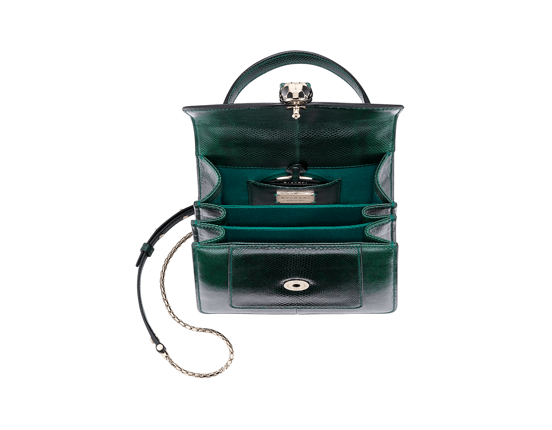 Flap cover bag Serpenti Forever in forest emerald shiny karung skin. Brass light gold plated hardware and snake head closure in black and white enamel with eyes in green malachite. 283517 image 5