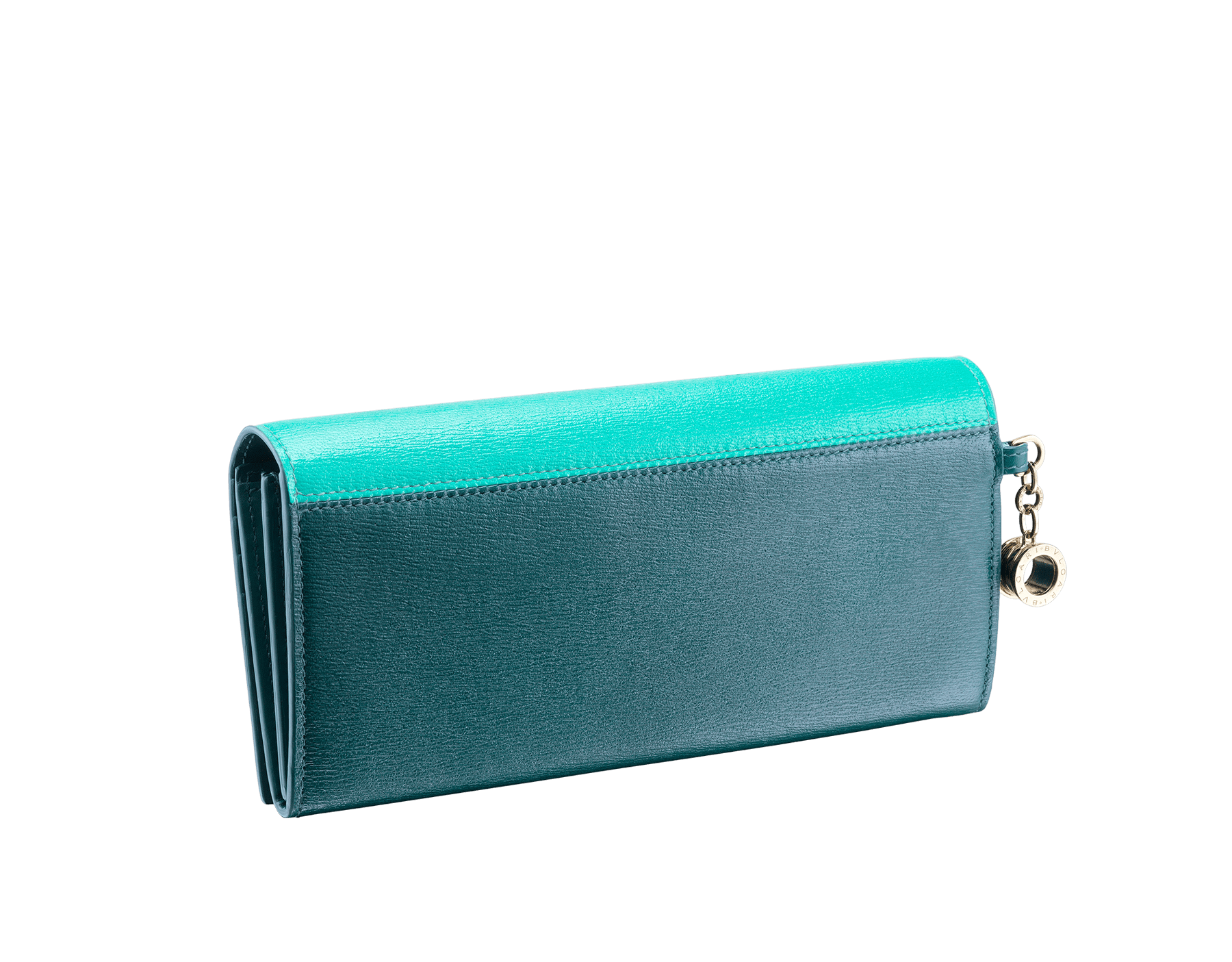 B.zero1 wallet pochette in tropical turquoise and deep jade goatskin. Iconic B.zero1 charm in light gold plated brass and closure clip. 288230 image 6