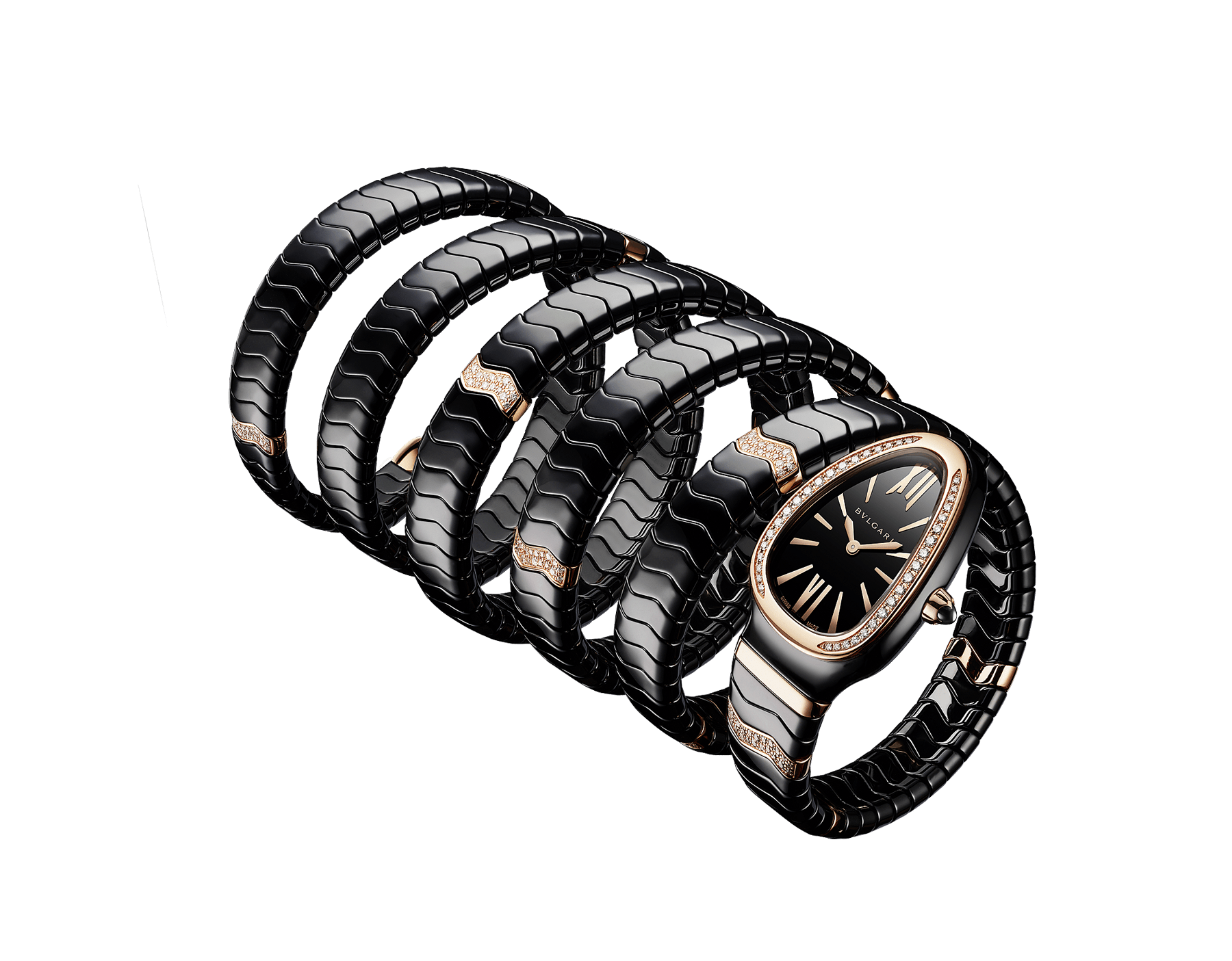 Serpenti Spiga five-spiral watch with black ceramic case, 18 kt rose gold bezel set with diamonds, black lacquered dial, black ceramic bracelet set with 18 kt rose gold elements and diamonds 102888 image 2