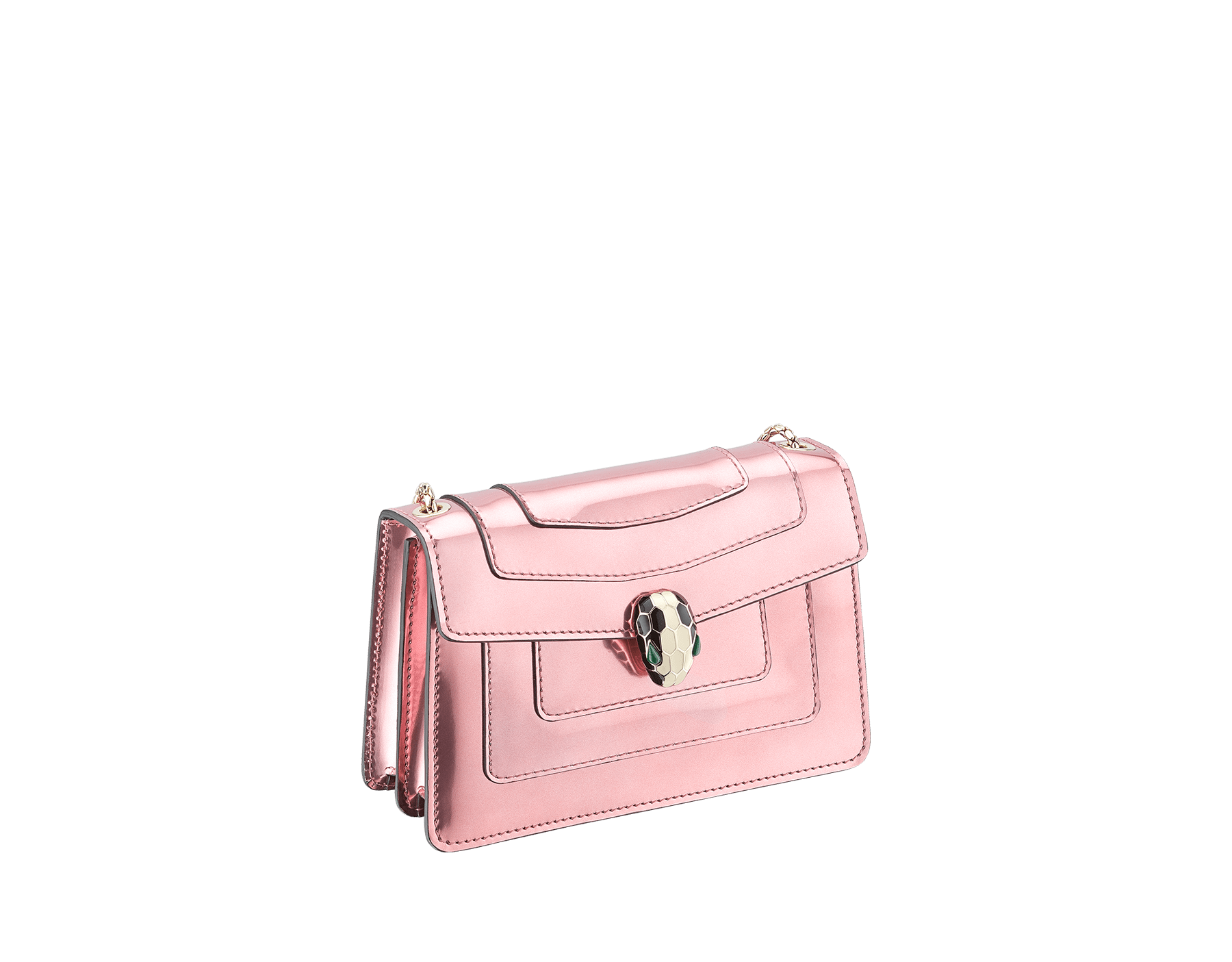 Serpenti Forever mini crossbody bag in sunset rose brushed metallic calf leather. Brass light gold-plated snake head closure in black and white enamel, with green malachite eyes. 288052 image 2