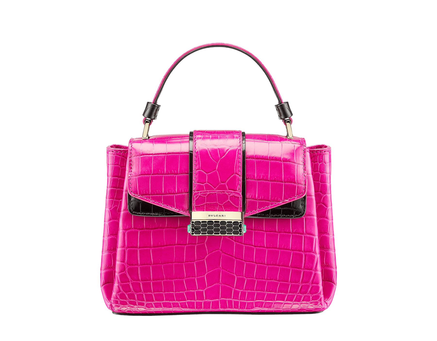 Top handle bag Serpenti Viper in pink spinel and black shiny crocodile skin. 282923 image 1