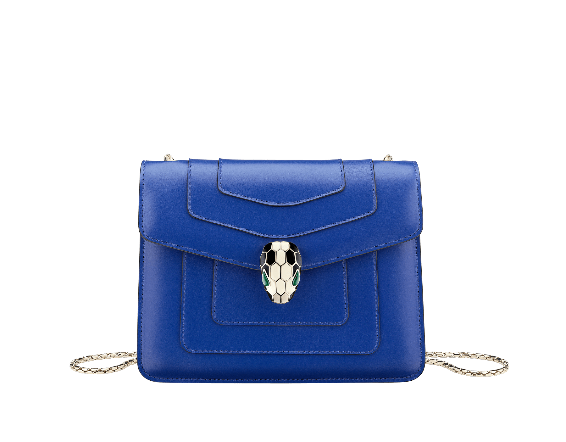 """Serpenti Forever "" crossbody bag in cobalt tourmaline calf leather. Iconic snakehead closure in light gold plated brass enriched with black and white enamel and green malachite eyes 287012 image 1"