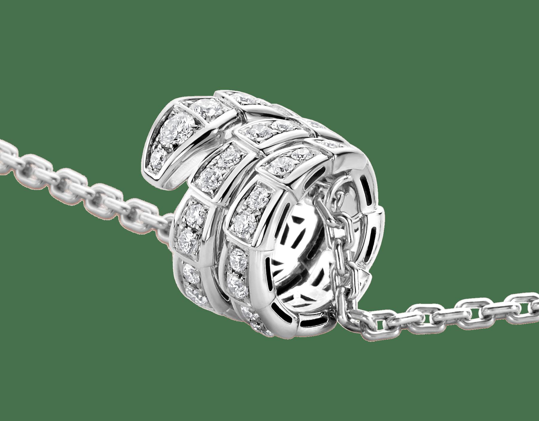 Collana con pendente Serpenti Viper in oro bianco 18 kt con pavé di diamanti. 357796 image 6