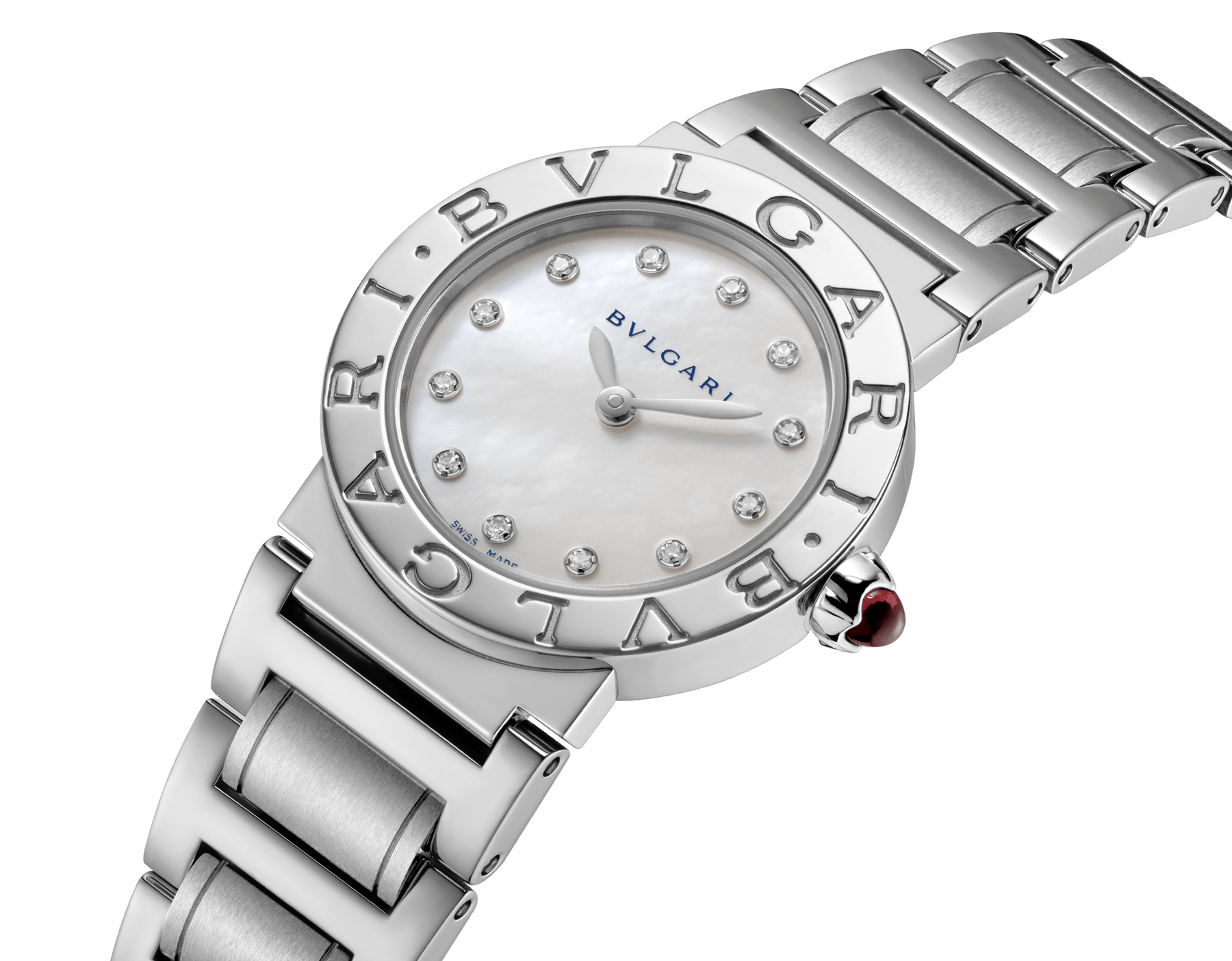BVLGARI BVLGARI watch in stainless steel case and bracelet, with white mother-of-pearl dial and diamond indexes. Small model 101886 image 2